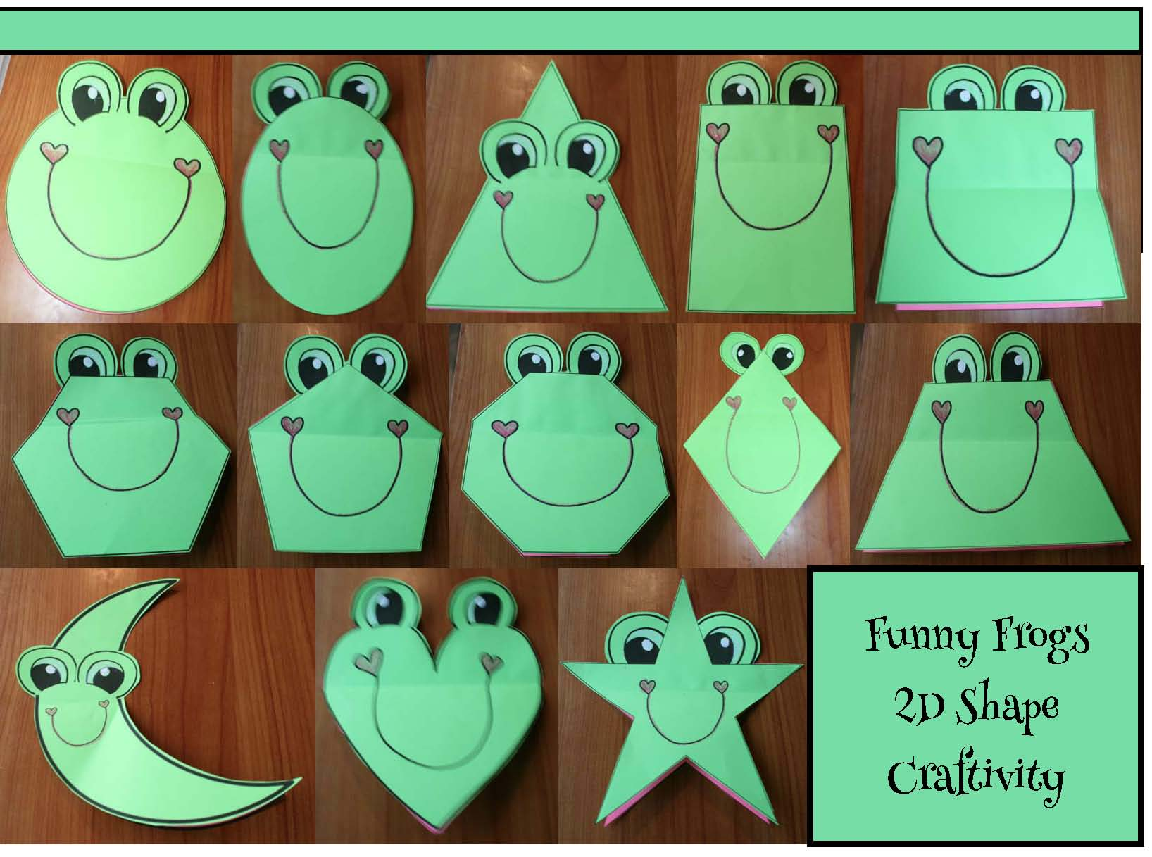 2D shape activities, shape games, shape crafts, shape bulletin boards, shape centers, frog crafts, frog activities,