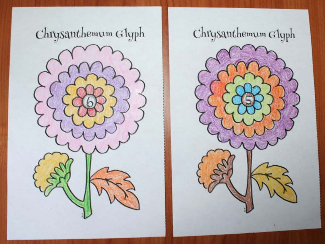 chrysanthemum flower glyphs