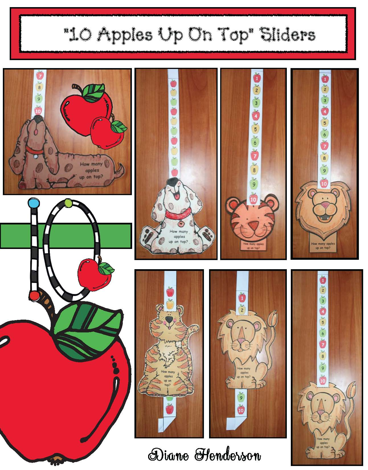 Dr. Seuss activities, 10 apples up on top activities, Dr. Seuss crafts, apple crafts, apple activities, counting backwards activities