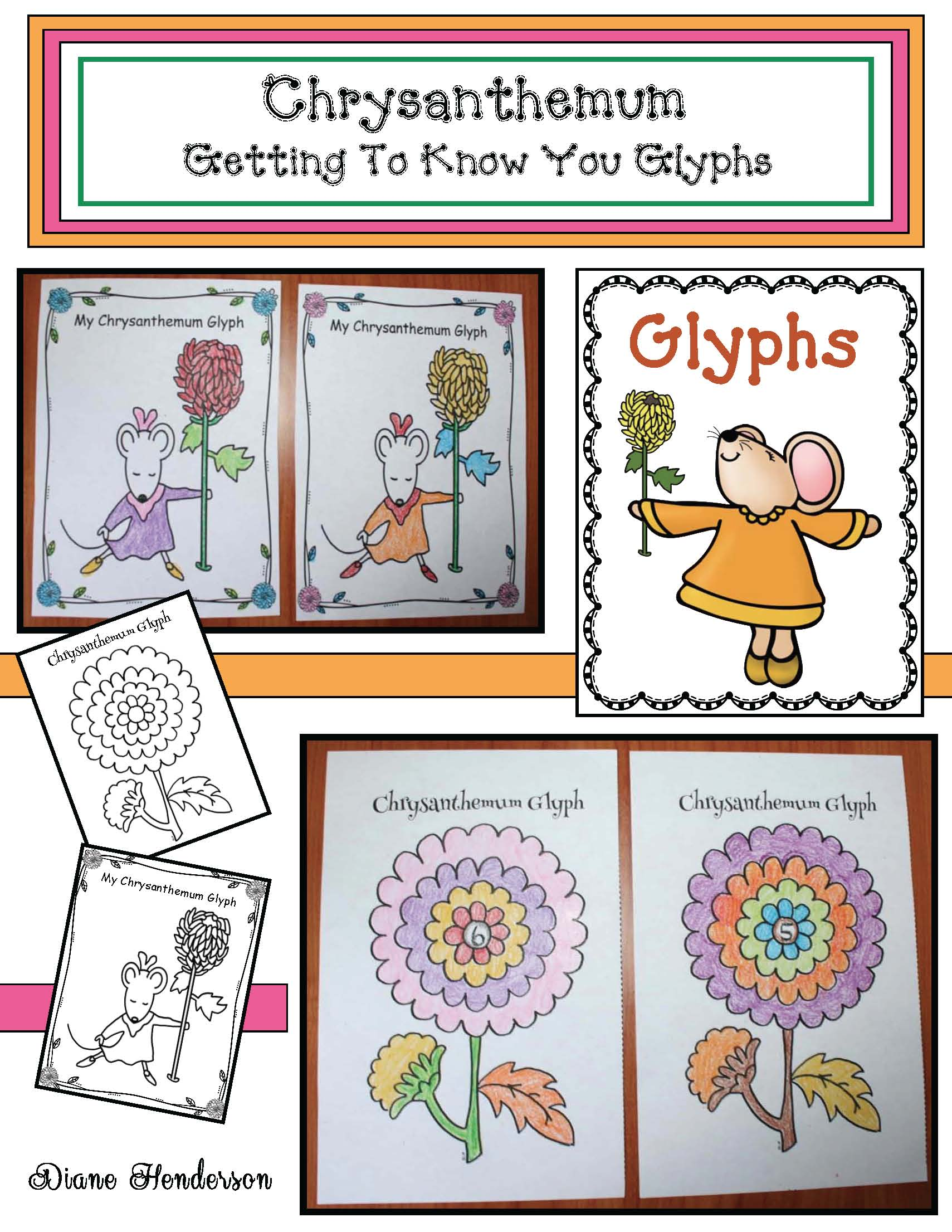 Chrysanthemum activities, chrysanthemum centers, chrysanthemum games, chrysanthemum glyph, back to school activities, first day of school activities, glyphs, glyphs for back to school, fix the sentence activities, Kevin Henkes' book activities