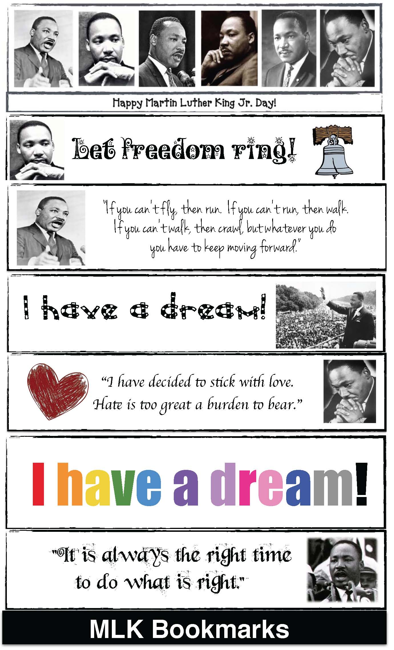 MLK activities, Martin Luther King Day activities, writing prompts for martin luther king day, martin luther king bookmarks,