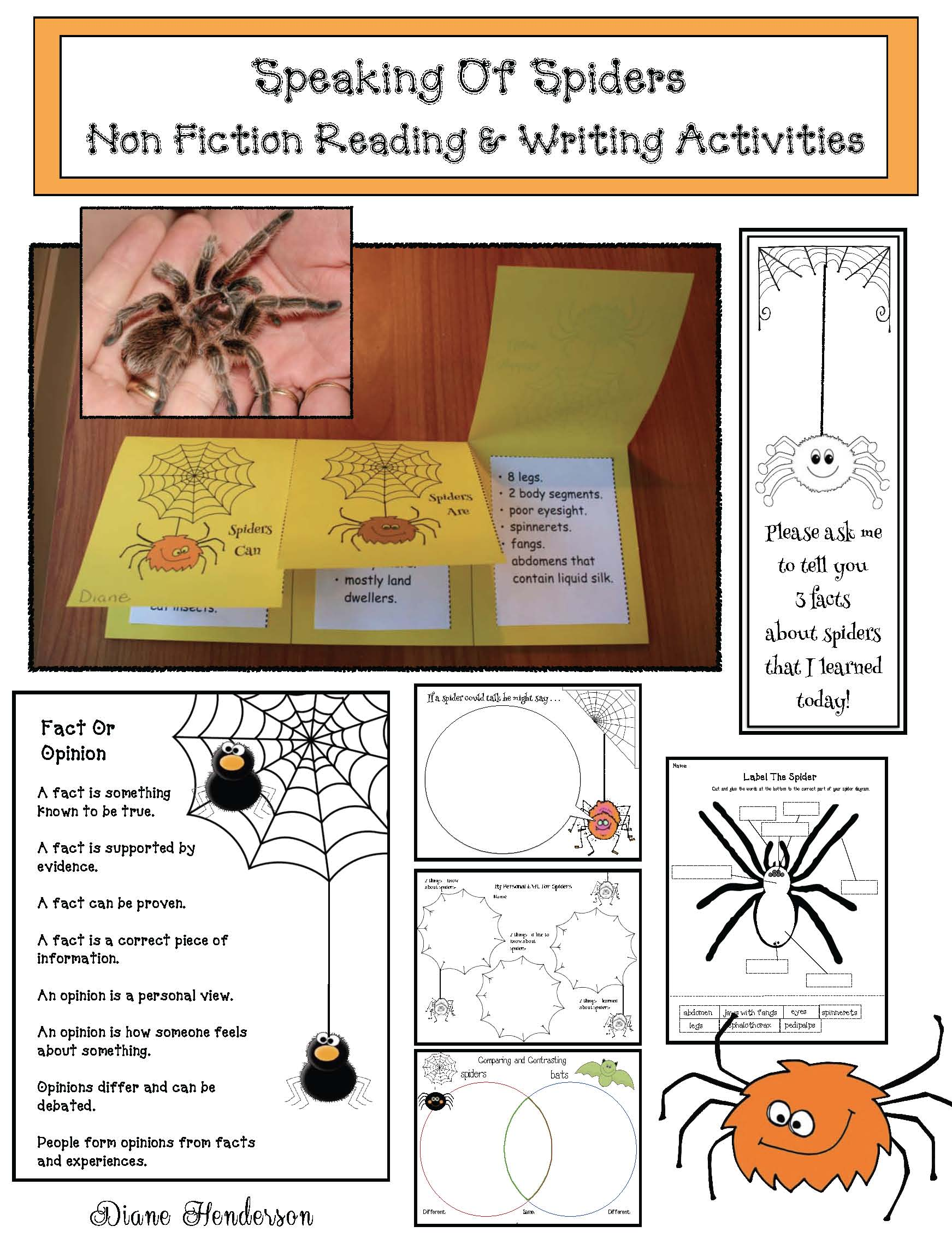 common core spiders, spider activities, spider crafts, non fiction spider activities, spider centers, spider writing prompts, graphing spiders, 2D shapes