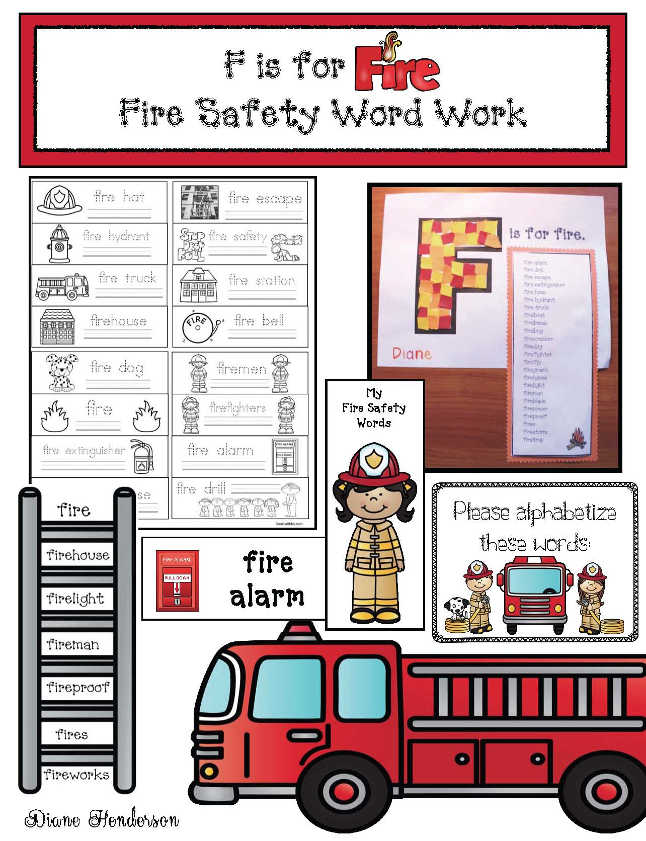 fire safety activities, fires safety crafts, fires safety words, fire safety writing prompts, fire safety bulletin boards