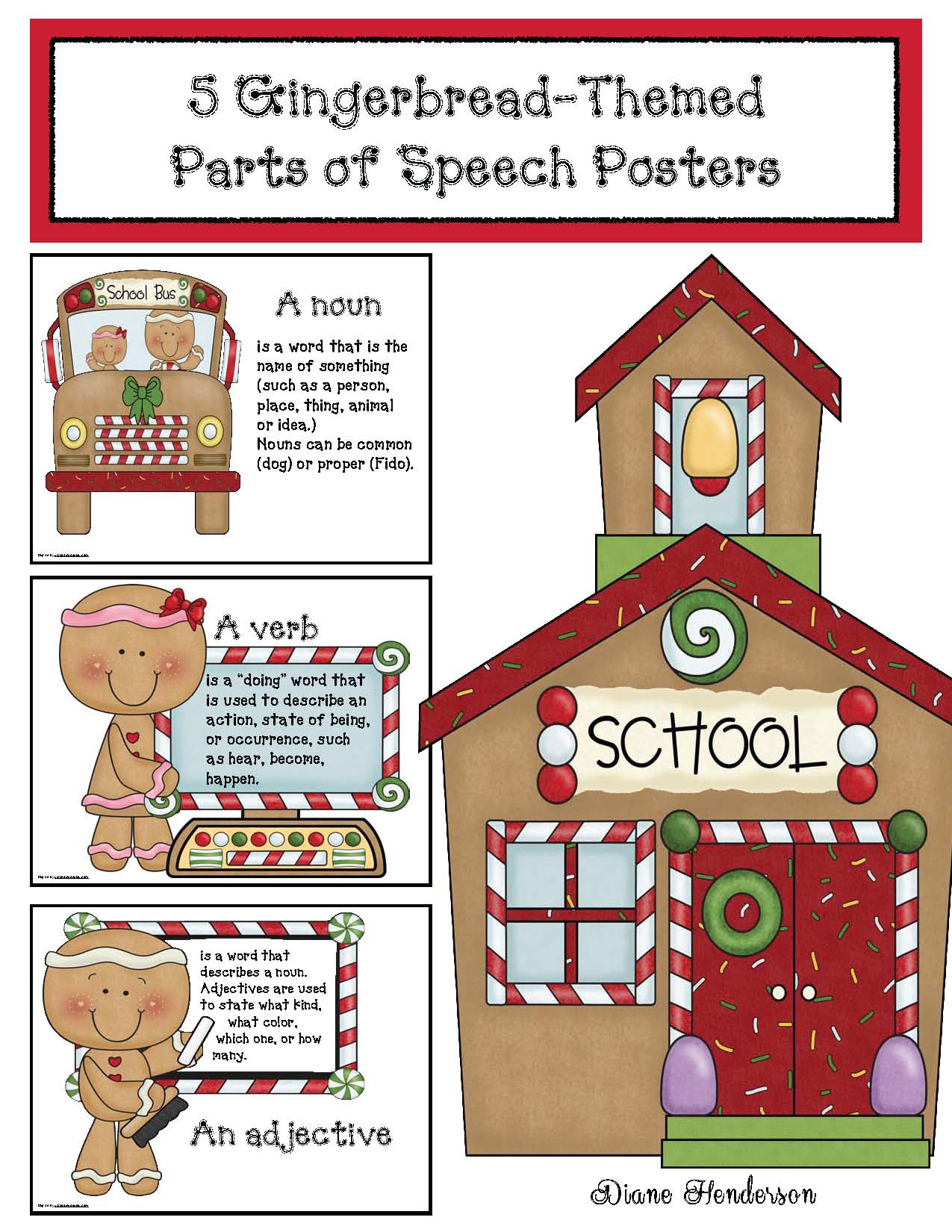 gingerbread crafts, gingerbread house, christmas crafts, gingerbread parts of speech posters