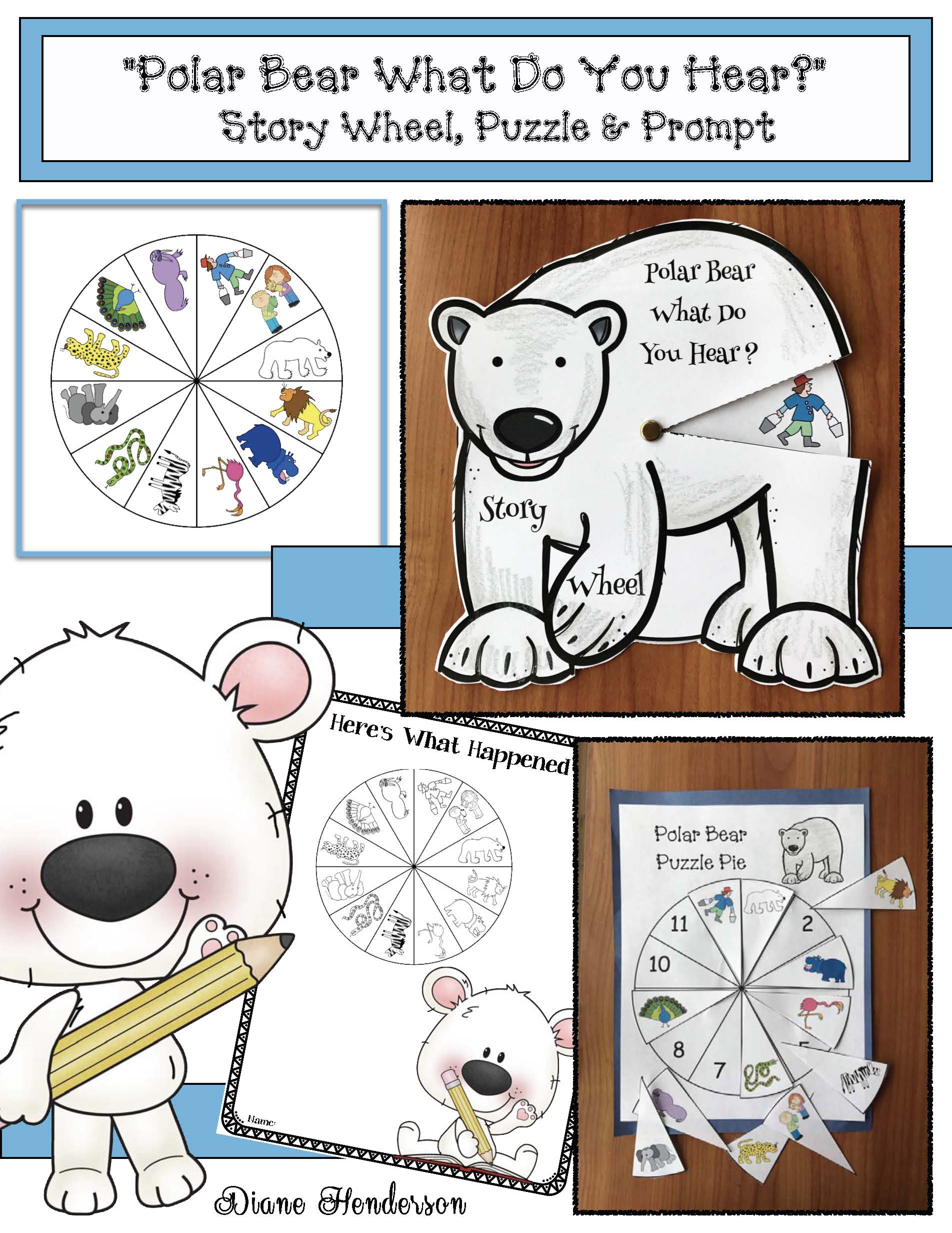 polar bear what do you hear activities, winter bulletin board ideas, winter center activities, literacy centers, 5 senses activities, eric carle books, bill martin books, polar bear crafts, retelling a story activities, sequencing a story activities, farm animal activities, story wheels, emergent reader books, class made books
