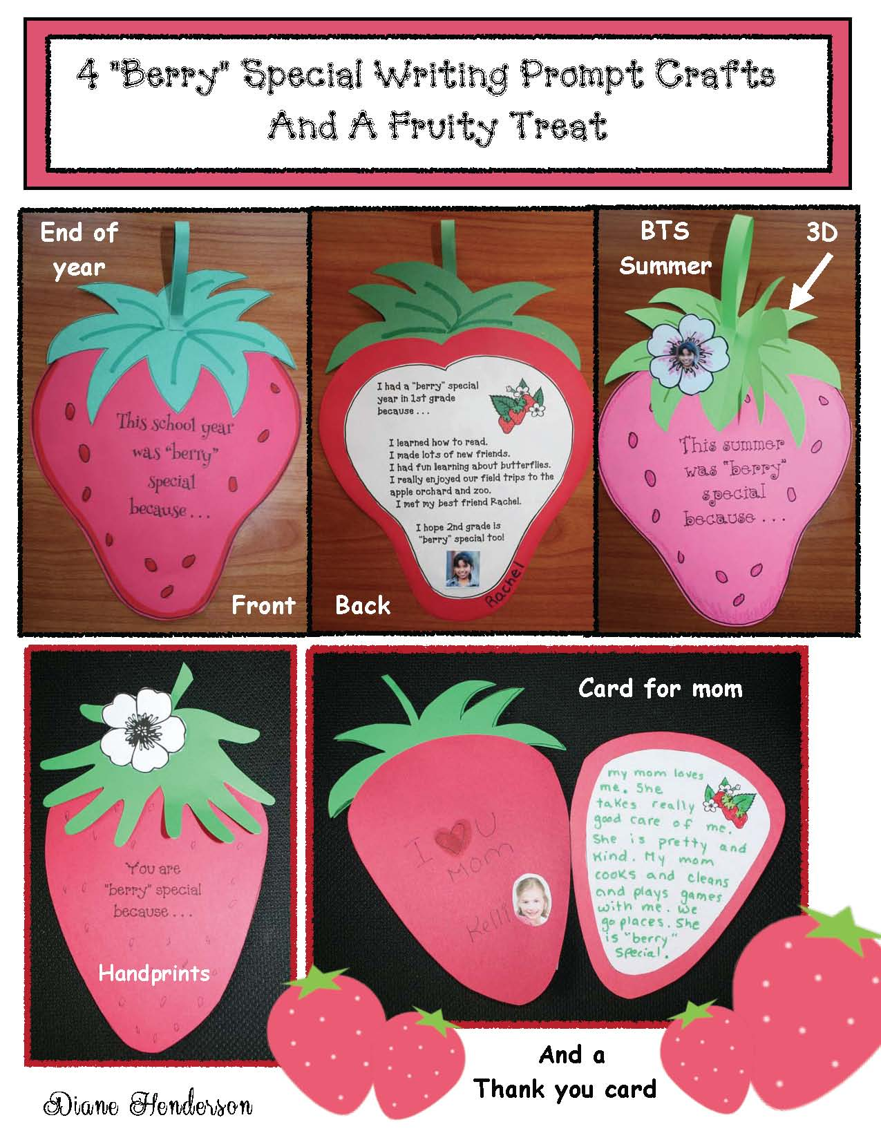 moithers day cards, mothers day crafts, mothers day activities, mothers day writing prompts, end of the year activities, frog crafts, strawberry crafts, ladybug crafts, back to school activities,