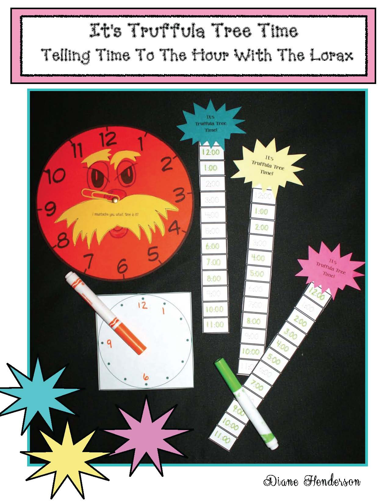 Seuss activities, seuss crafts, seuss centers, seuss games, 2D shape activities 3D shape activities, shape games, shape crafts, shape activities, telling time to the hour activities, Lorax activities, analog and digital time activities, telling time to the hour games