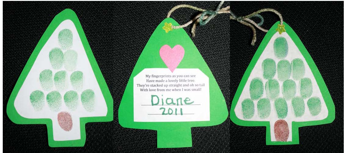 fingerprint tree ornament, Christmas crafts, christmas ornaments, christmas activities