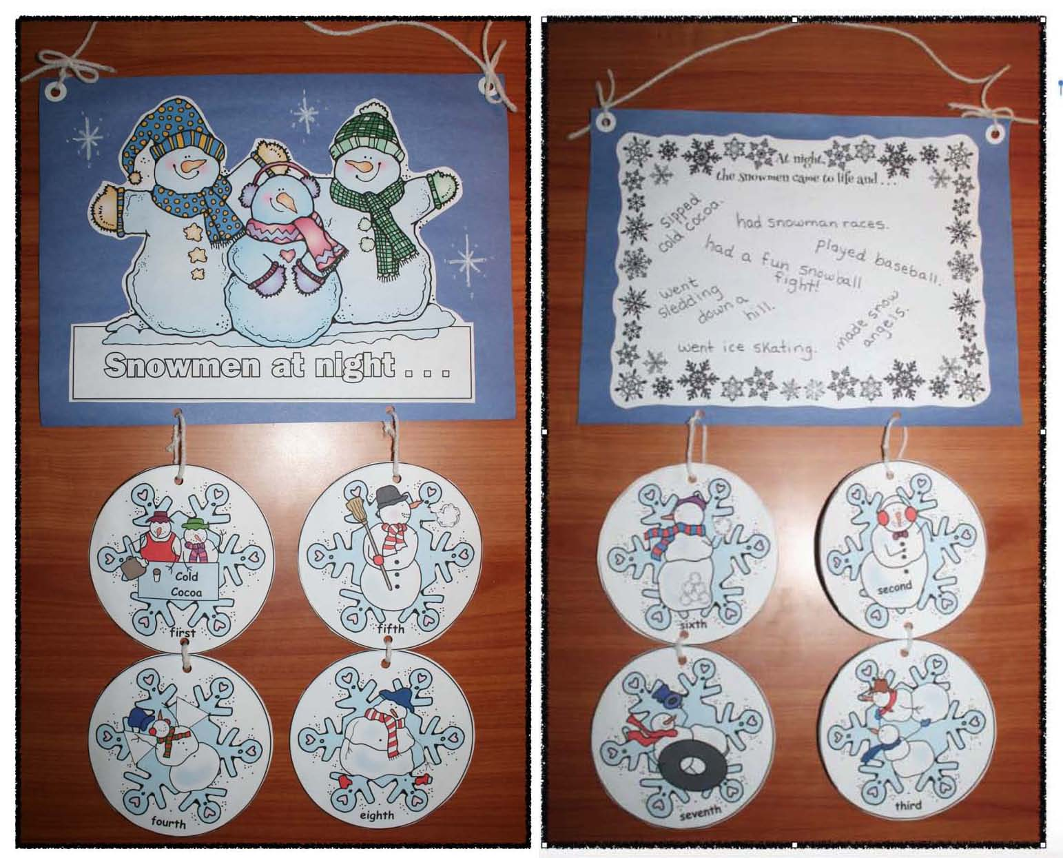 snowman actvities, soowmen crafts, snowmen at night activities, snowmen bulletin boards, January writing prompts, snowman writing prompts, retelling a story activities, sequencing a story activities, winter bulletin boards
