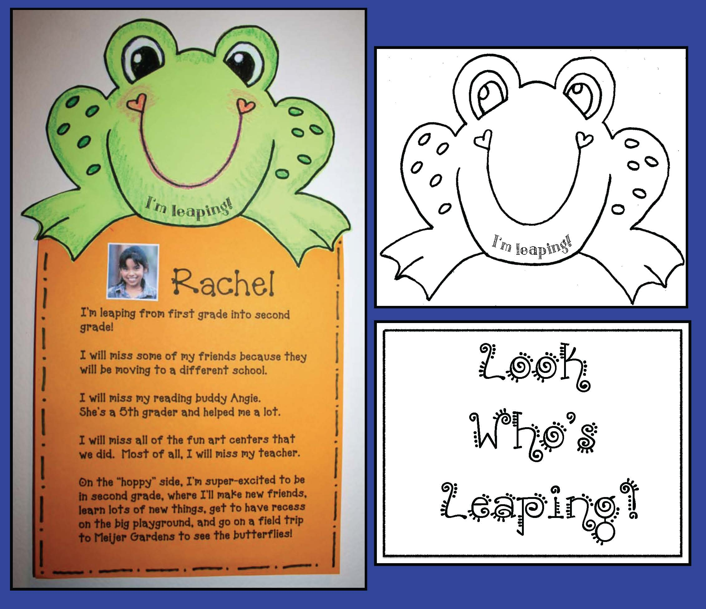 look whos leaping activities, frog crafts, frog writing prompts, back to school crafts, back to school treats, back to school ideas, back to school bulletin boards, back to school activities, back to school writing prompts, end of the year writing prompts, end of the year activities, end of they year memory books, end of the year bulletin boards, summer writing prompts, end of the year crafts, free school certificates, certificates, bookmarks, free bookmarks, coloring pages