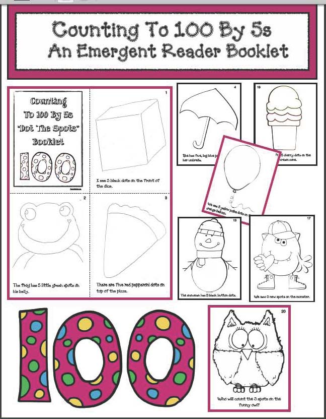 100 day activities, 100 day crafts, 100 day bulletin boards, 100 day writing prompts, 100 day emergent readers, 100 day literacy centers, 100 day math activities, skip counting activities, skip counting by 5s, Dolch sight word activities, skip counting by 10s.