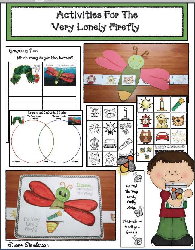 activities for the very lonely firefly, very hungry caterpillar activities, firefly activities, story sliders, eric carle book activities