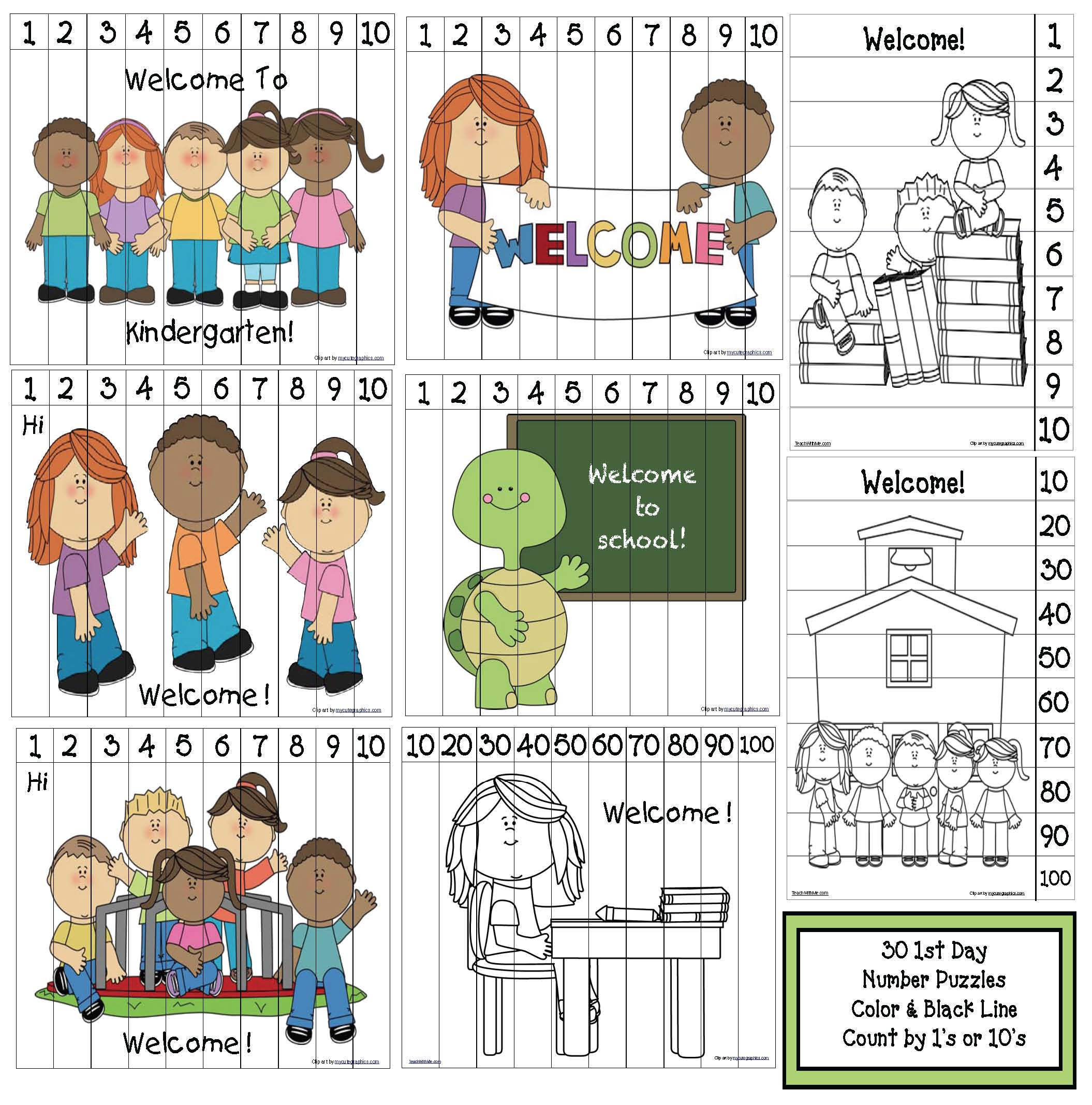 1st day of school activities, first day of school ideas, ideas for the 1st day of school, first day of school lessons, first day of school icebreakers, first day of school games, back to school bulletin boards, number puzzles, free puzzles, back to school puzzles, skip counting by 10's activities, back to school coloring pages, back to school gifts, ideas for open house, first day of school gift