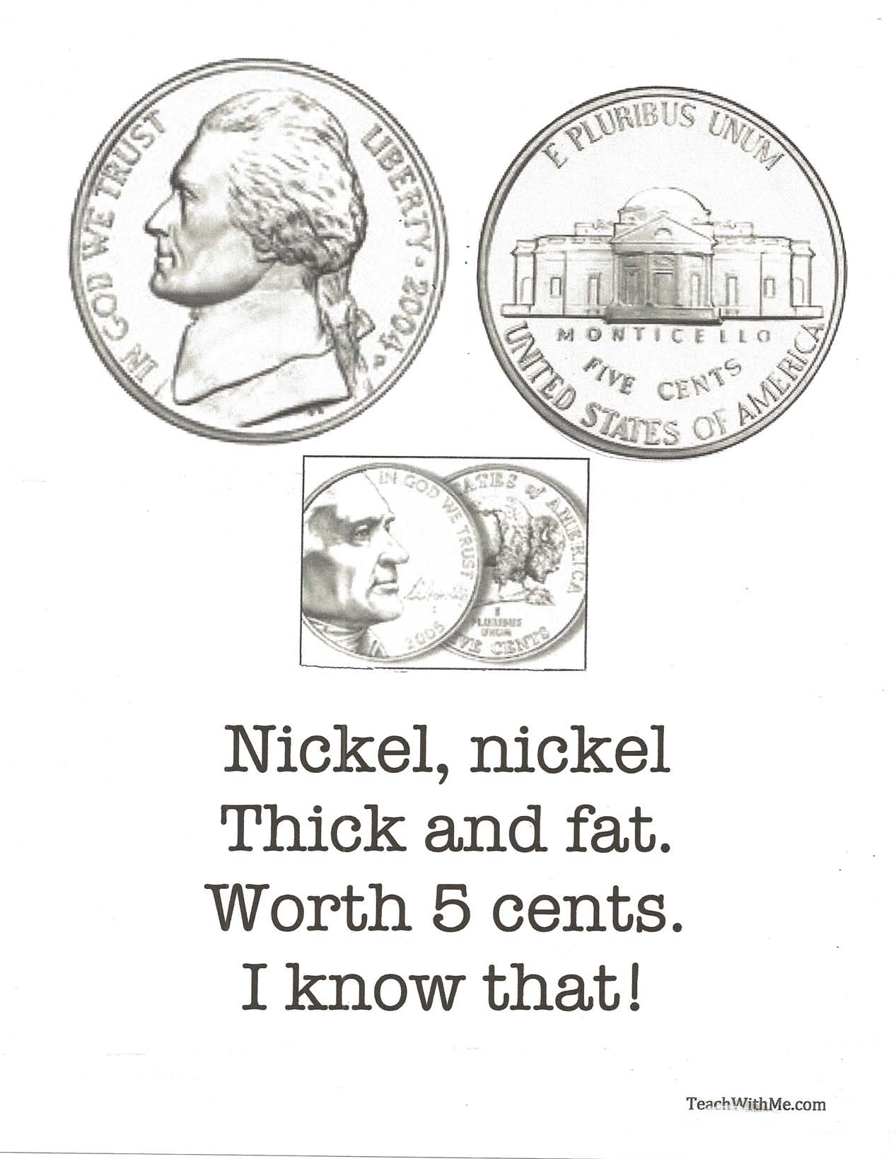 coin poems, coin posters, coin flashcards