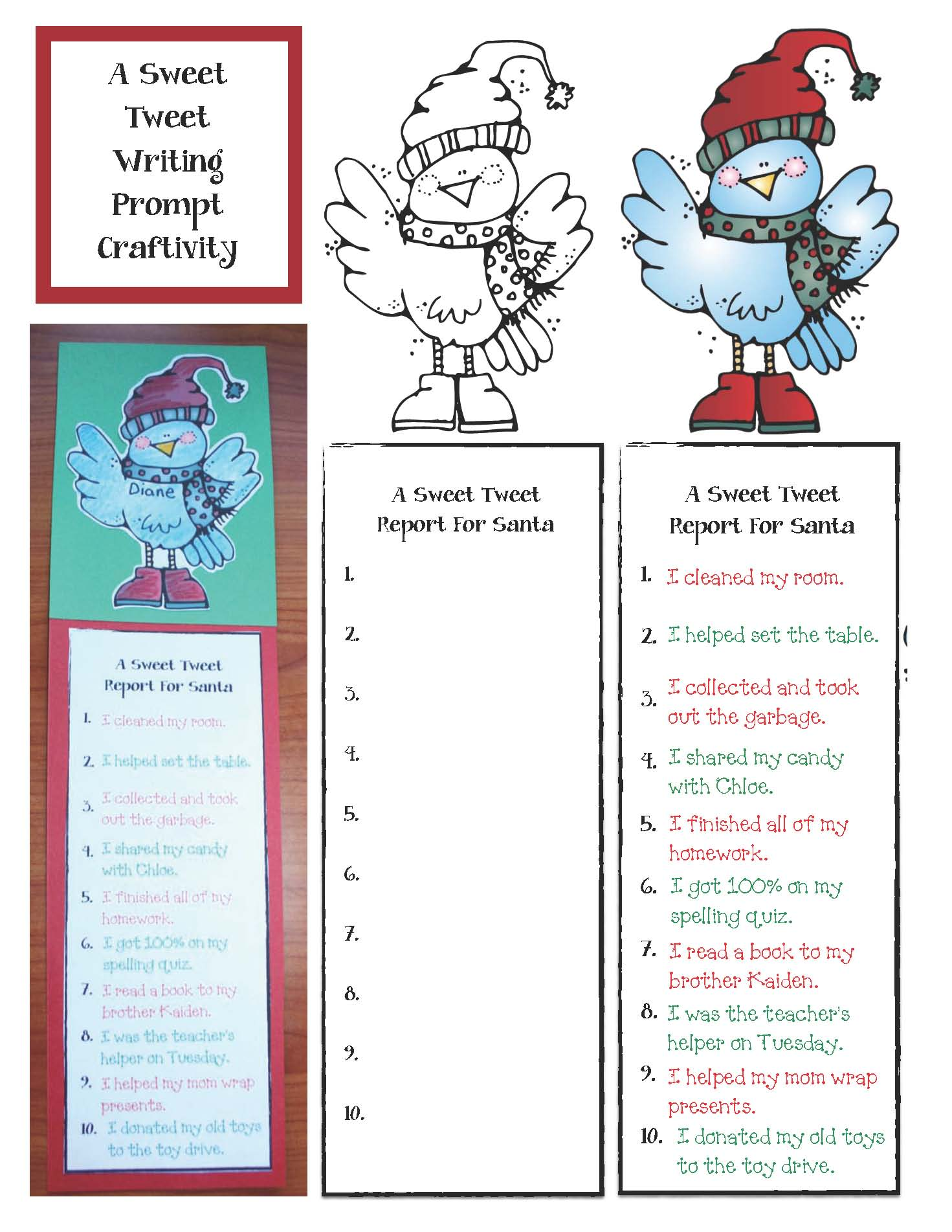 December writing prompts, santa activities, reindeer activities, elf activities, elf writing prompts, reindeer wriitng prompts, class made books, tweeting activities, Christmas stocking activities, fill a bucket activities for december