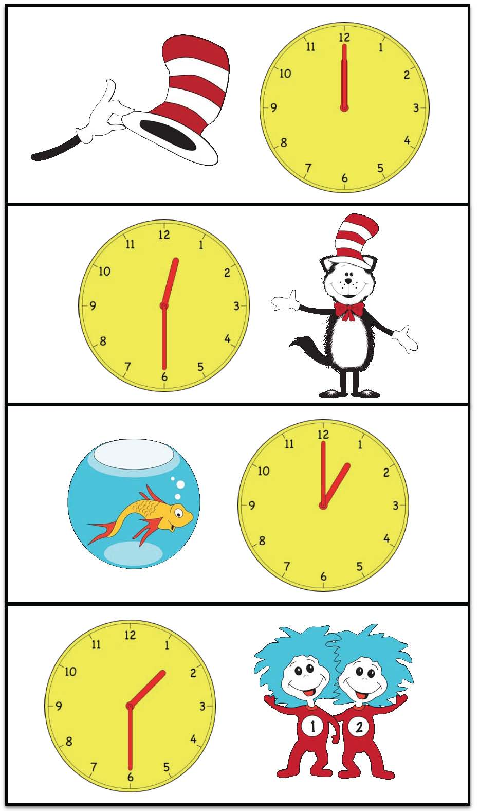 seuss activities, seuss games, telling time games, telling time activities, cat in the hat activities, cat in the hat games, common core seuss, analog time activities, analog time games, digital time games, digtital time activities, clock cards, clock posters, telling time pocket chart cards, telling time assessments, assessments for telling time to the hour, assessments for telling time to the half hour, telling time certificates, 1.MD.3