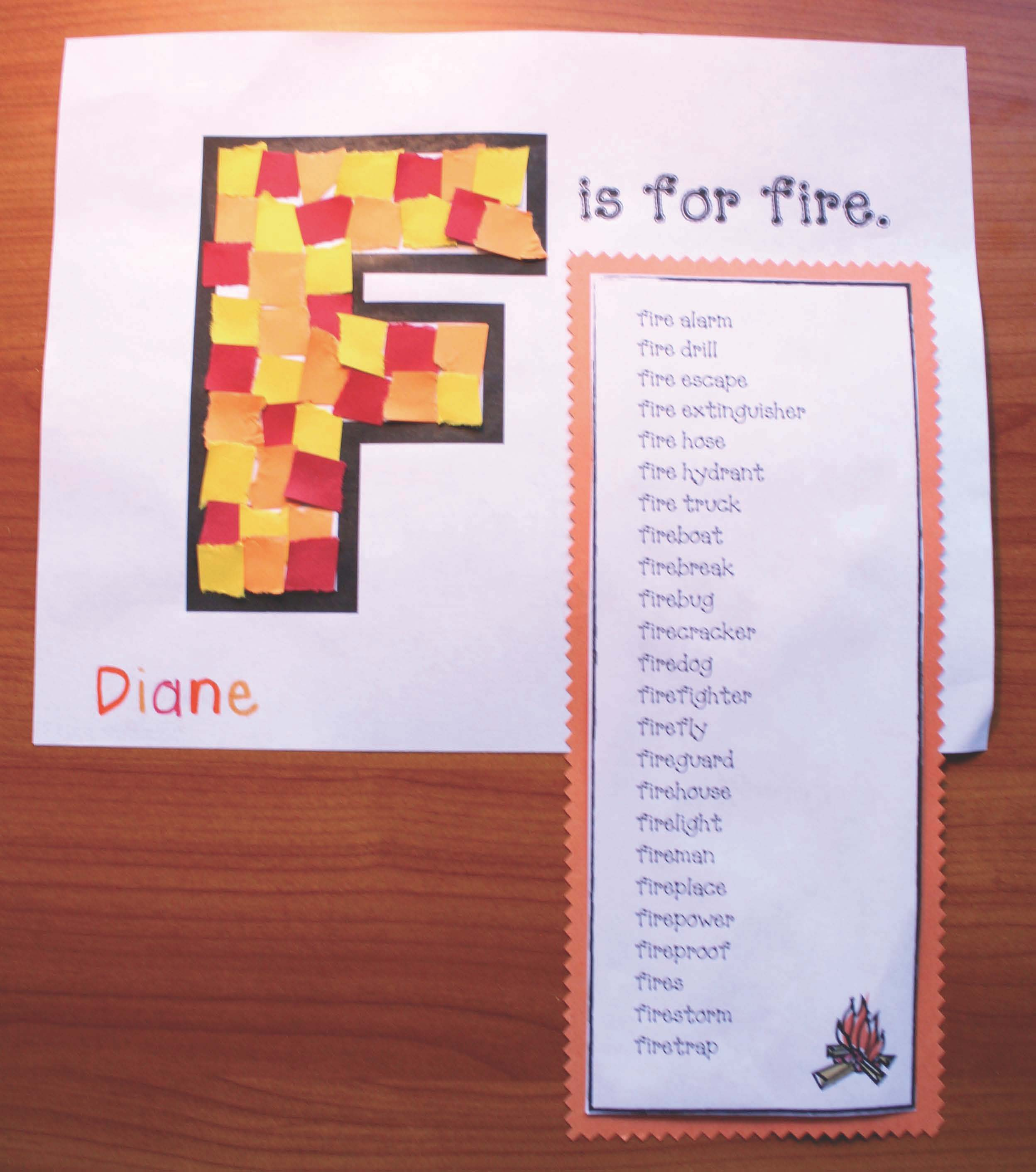 fire safety crafts, fire safety activities, fire safety vocabulary words, words that begin with fire, fire safety songs, fire safety posters, 55 fire safety books, fire safety writing prompts, stop drop and roll activities,