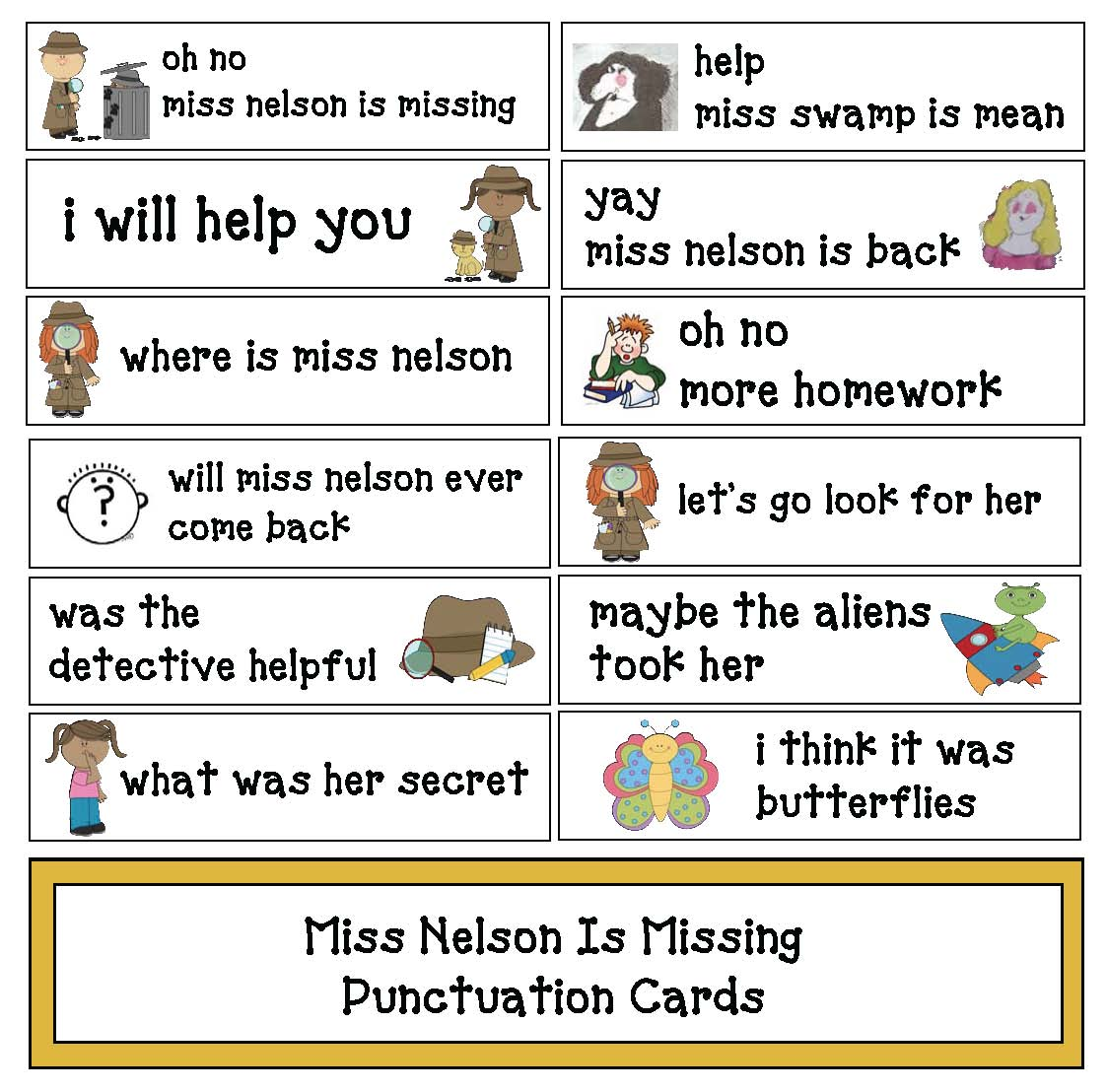 miss nelson is missing activities, miss nelson is missing lessons, back to school books, favorite back to school books, activities for favorite books, back to school ideas, punctuation activities, grammar activities for early elementary, capitalization activities, free pocket cards, miss nelson is missing