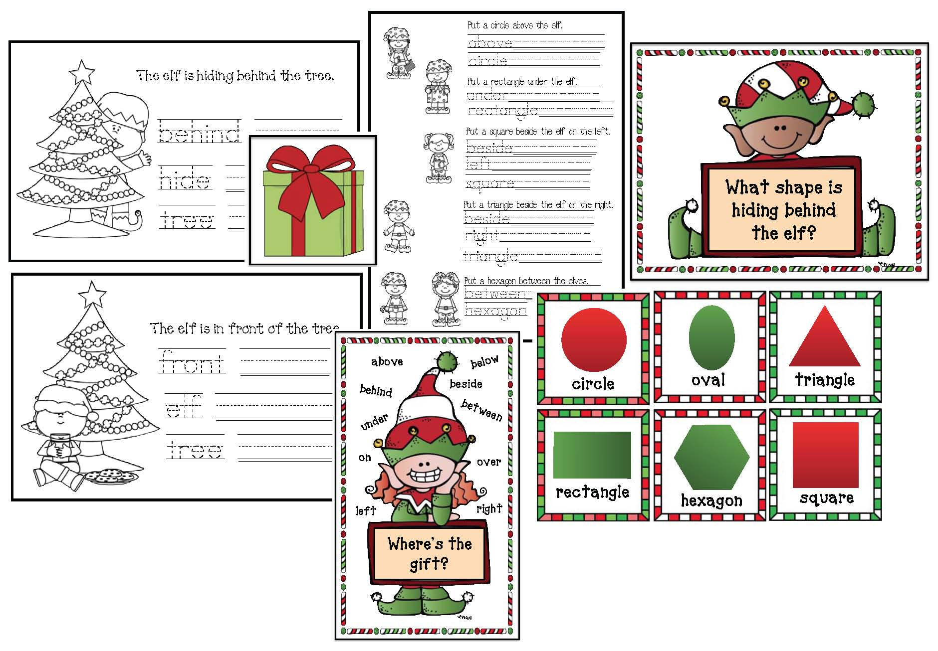 elf on a shelf activities, elf help, 2D shape activities, 2D shape games, alphabet games, alphabet assessments, alphabet activities, behavior modification activities, classroom management ideas, alphabet activities, elf-abet cards, elf on a shelf games, elf on a shelf crafts