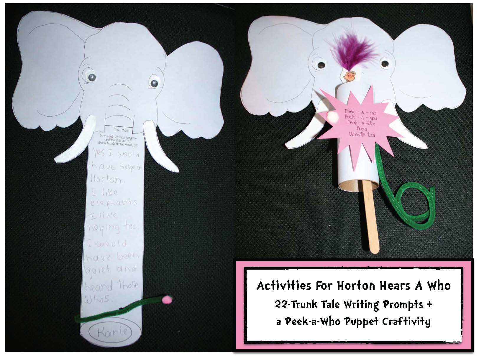 horton hears a who activities, horton crafts, horton writing prompts, elephant crafts, elephant activities, elephant mask, elephant puppet, Seuss activities, Seuss crafts, Seuss games, comparing Elmer with Horton activities, common core Seuss, common core horton hears a who, alphabetical list of words that rhyme with who