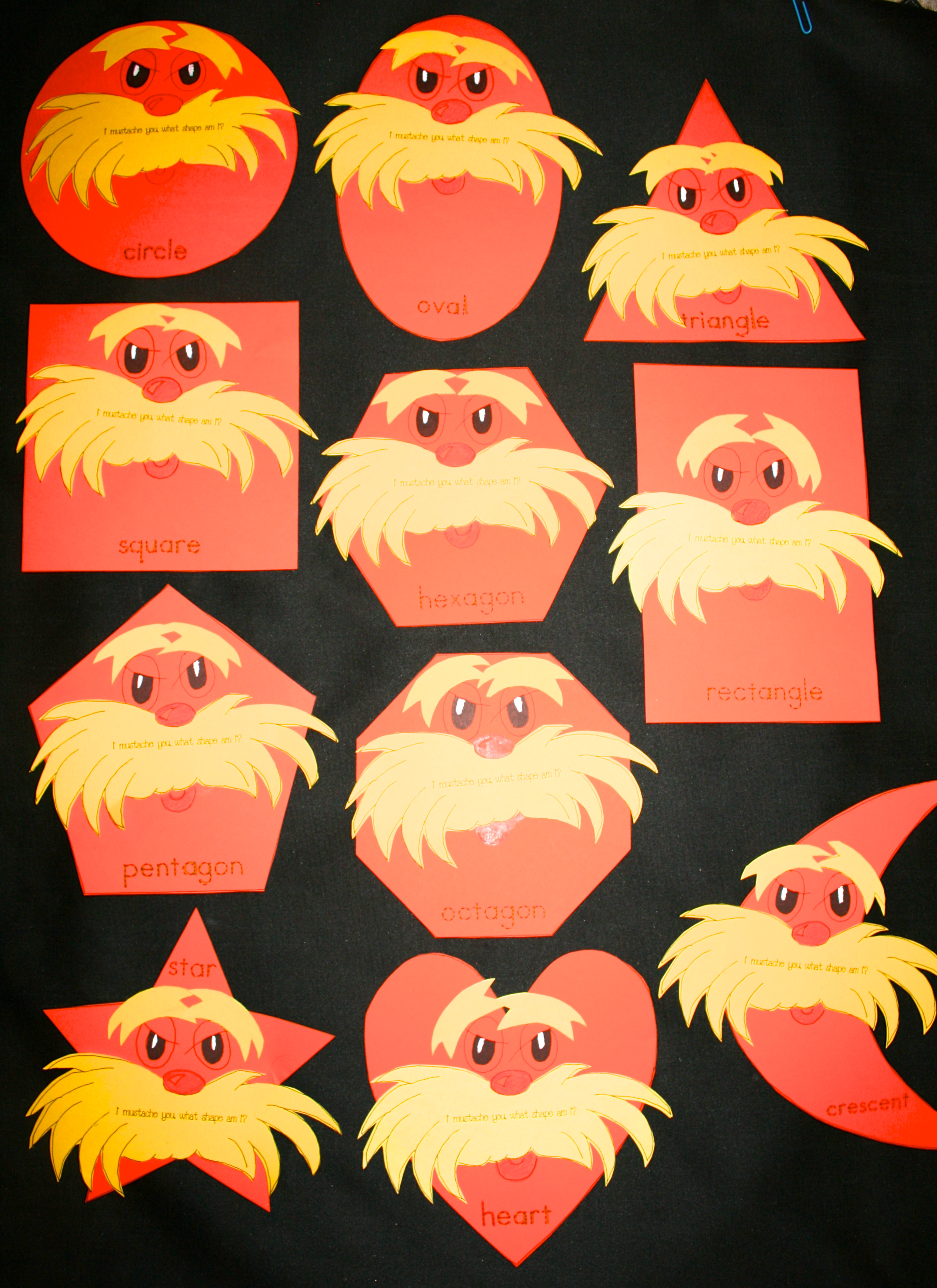 seuss activities, seuss lessons, lorax activities, lorax lessons, writing prompts for seuss, writing prompts for lorax, writing prompts for march,  , lorax mustache template, spring bulletin boards, march bulletin boards, seuss bulletin boards, truffula pencils, truffula trees, how to make a truffula tree, shape activities, shape bulletin boards,Lorax crafts, mustache activities