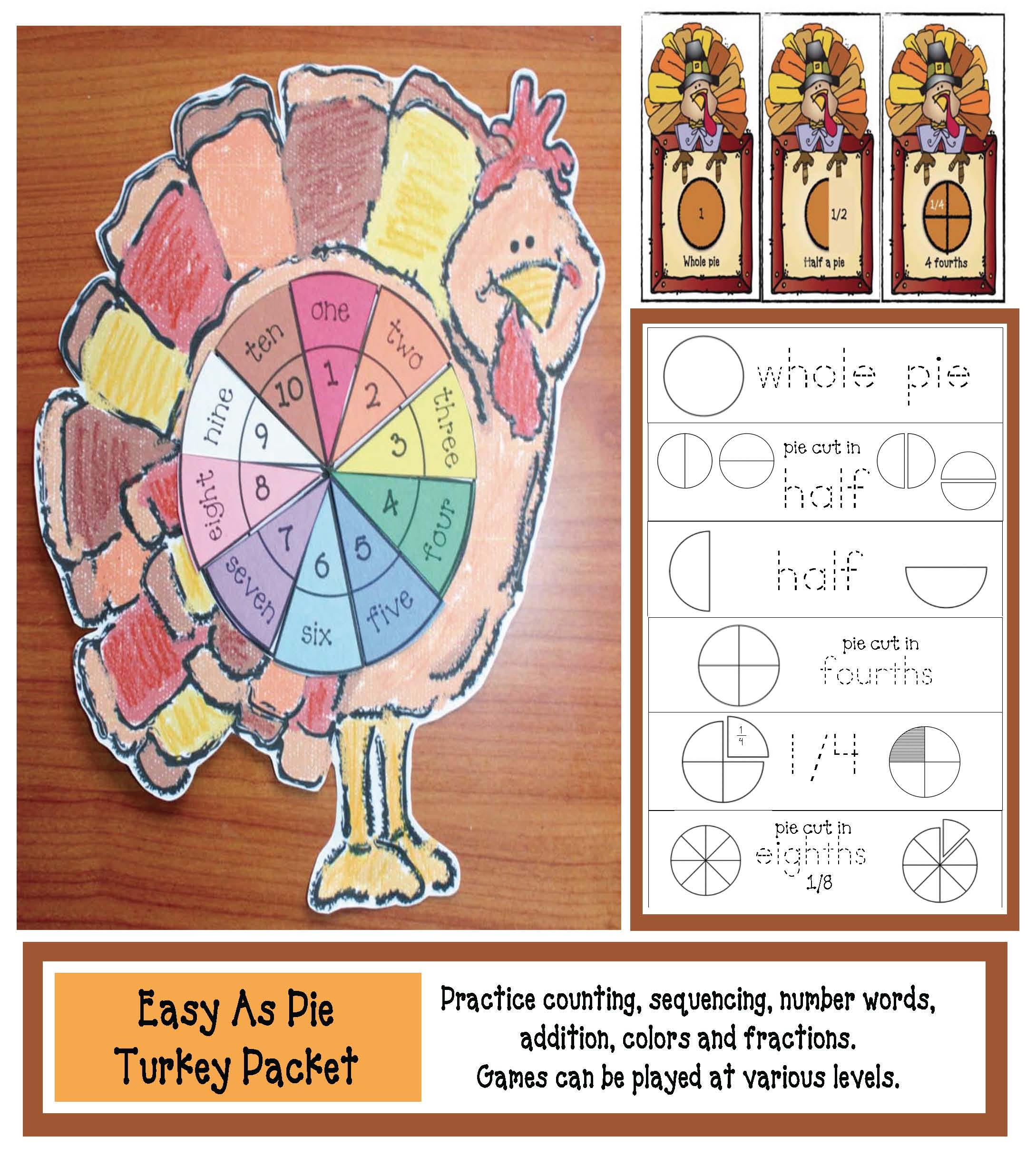 fraction activities, fraction games, colors, sequencing numbers 1-10, 10 piece fraction pie, number words, number word games, number word activities, math games, number puzzles, turkey activities, thanksging activities, thanksgiving games, turkey games, fraction flashcards,
