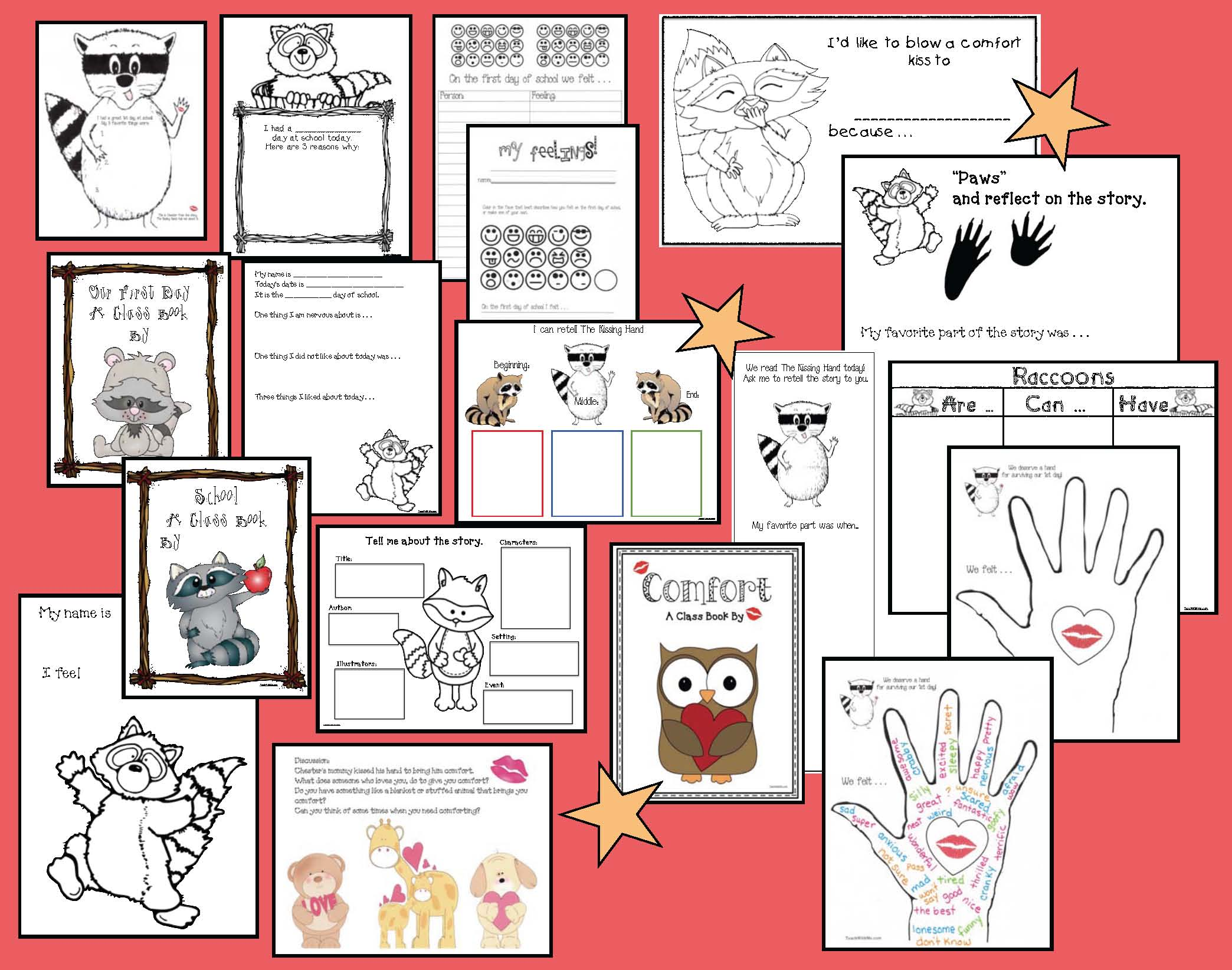 Kissing hand activities, raccoon crafts, raccoon activities, literacy packets, audrey penn, kissing hand crafts, back to school activities, back to school books for elementary