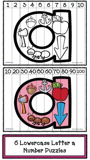 Lowercase Letter a Number Puzzles