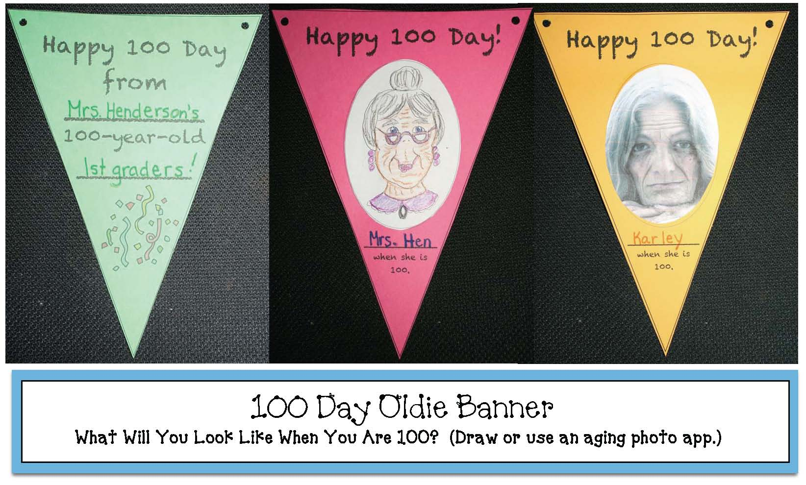 100 day activities, 100 day crafts, 100 day games, 100 day bulletin boards, 100 day certificates, 100 day bookmarks, 100 day crowns, 100 day banners, if I were 100 years old template, aging apps for 100 day activities,