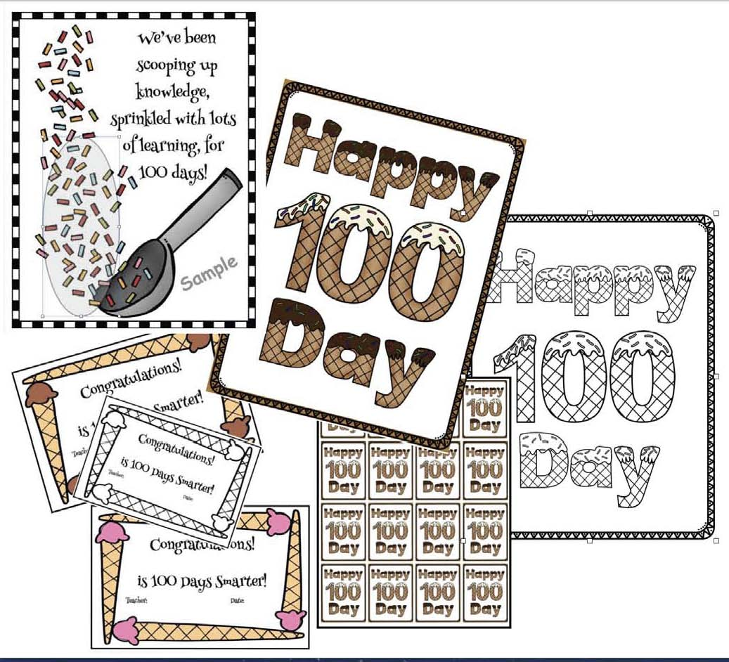 "some game cards, a ""Happy 100 Day!"" color-me poster"