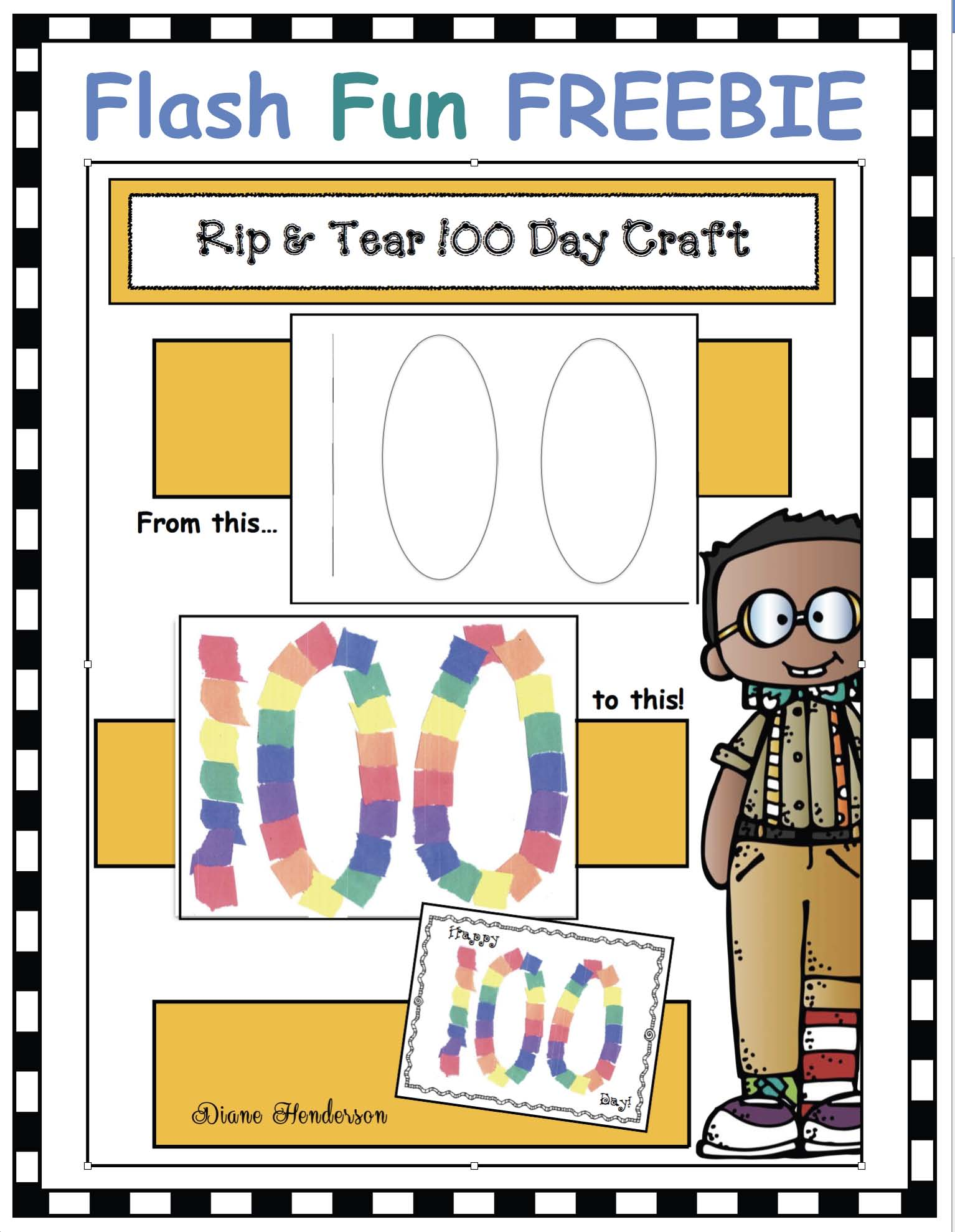 100 Day rip & tear craft for 100 day activities
