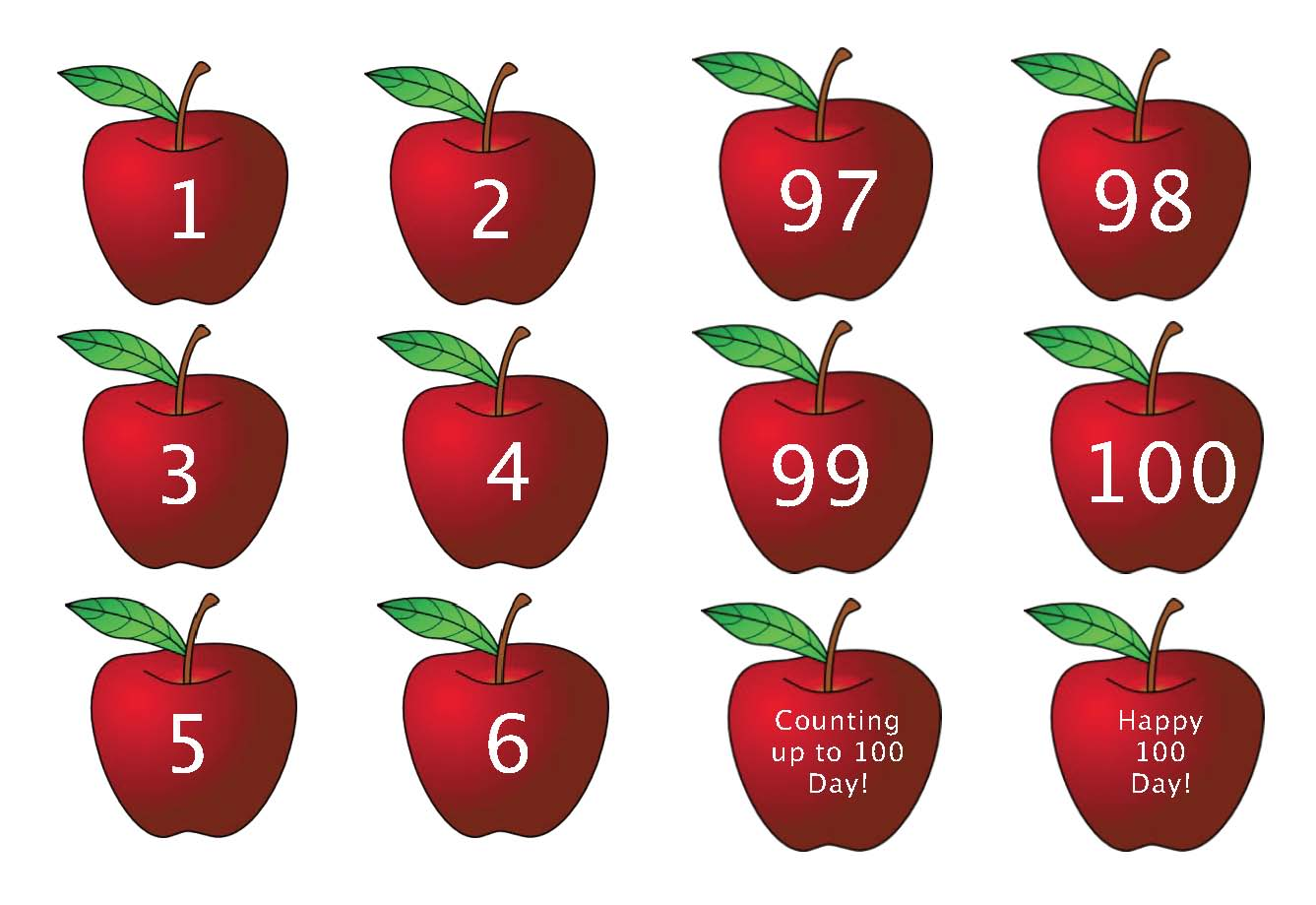 100 numbered apple cards, counting apples, apple activities, apple math, apple puzzles, 1-to-1 correspondence, skip counting activities, apple worksheets, apple graphs, shape activities, number puzzles, apple 10 frames, apple crafts