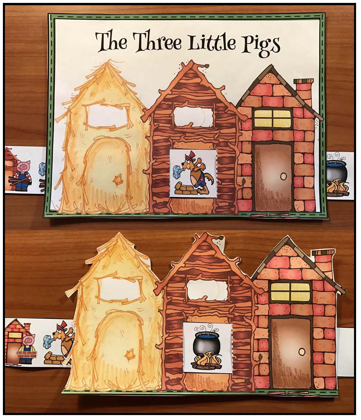 3 little pigs fairy tale activities, 3 little pigs crafts, retelling a story activities, sequencing a story activities
