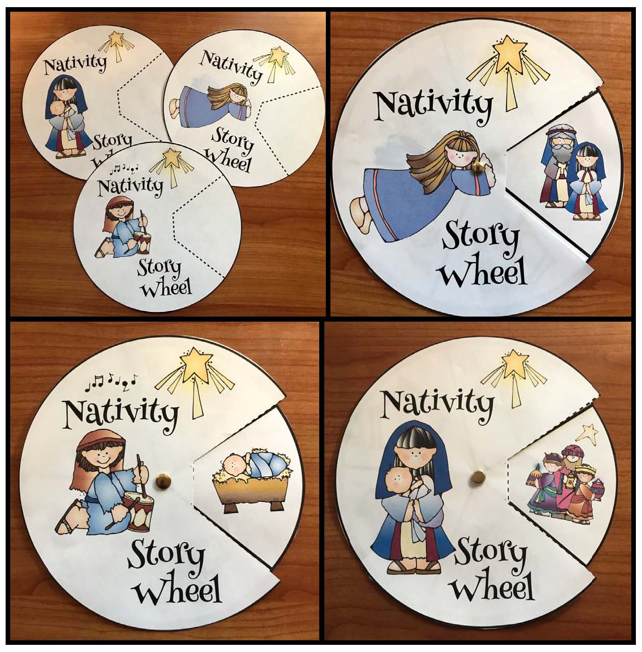 nativity crafts, crhristmas crafts, retelling a story activiteis, sequencing a story activities, birth of Jesus activities, storytelling wheels