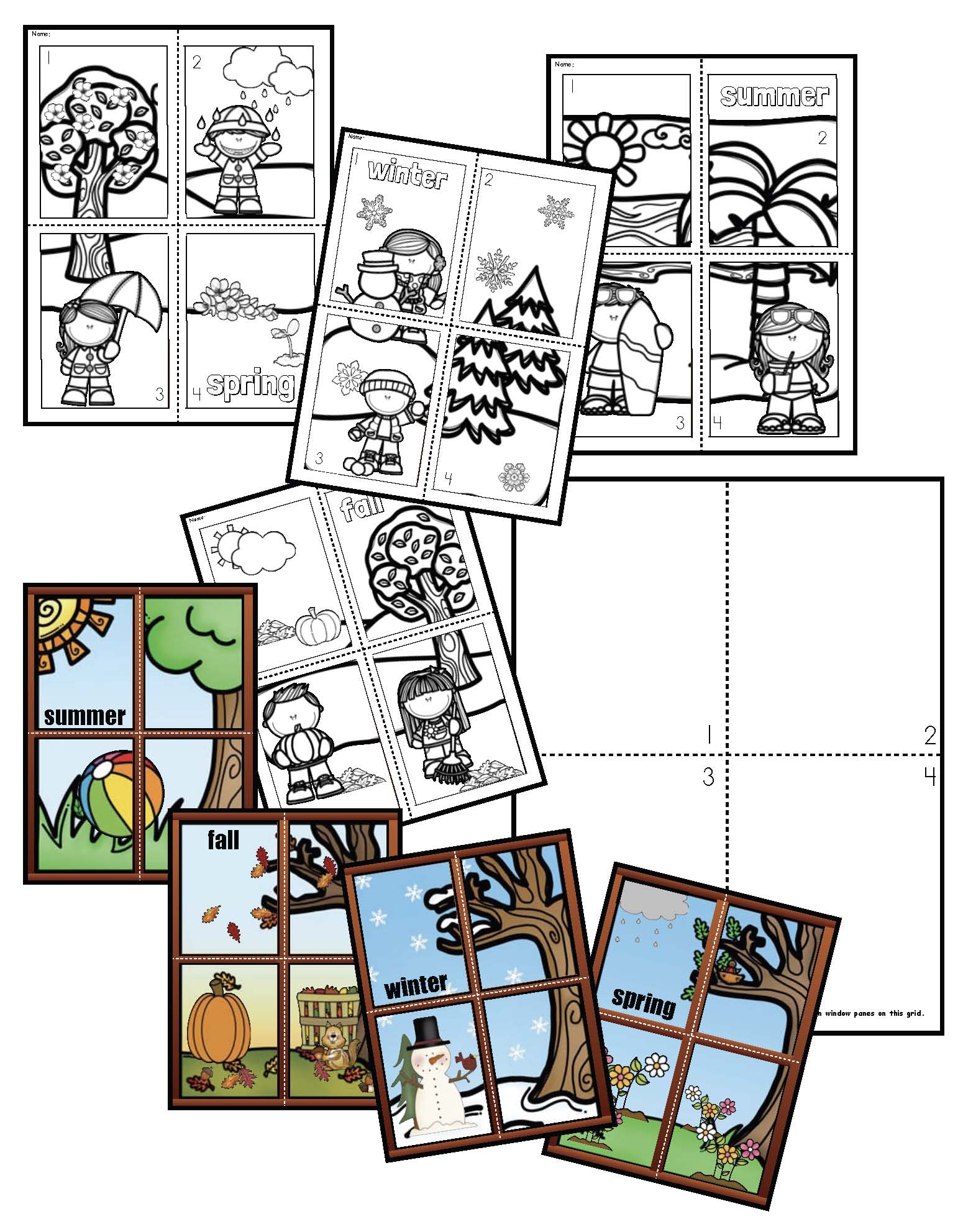 4 seasons games, 4 seasons crafts, 4 seasons activities, 4 seasons puzzles, 4 seasons centers