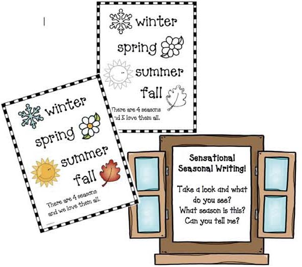 4 seasons writing prompts, 4 seasons booklet, 4 seasons bulletin board, 4 seasons crafts, 4 seasons centers