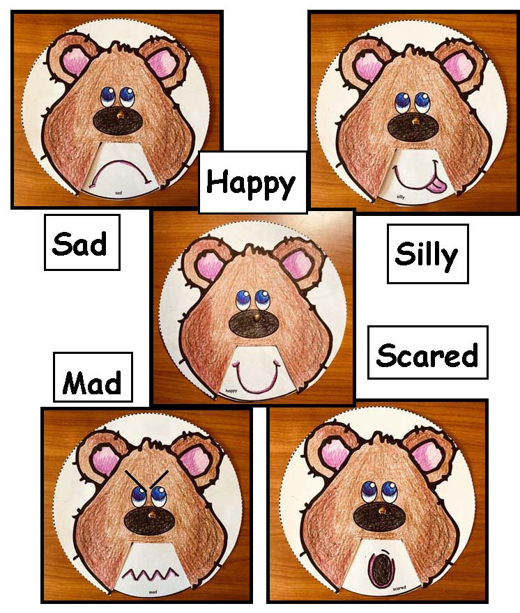5 bears with feeling faces, feelings crafts, feel wheel, dealing with feelings, emotions, teaching about feelings, teaching about emotions, feelings posters, feelings activities, graphing how you feel, classroom management