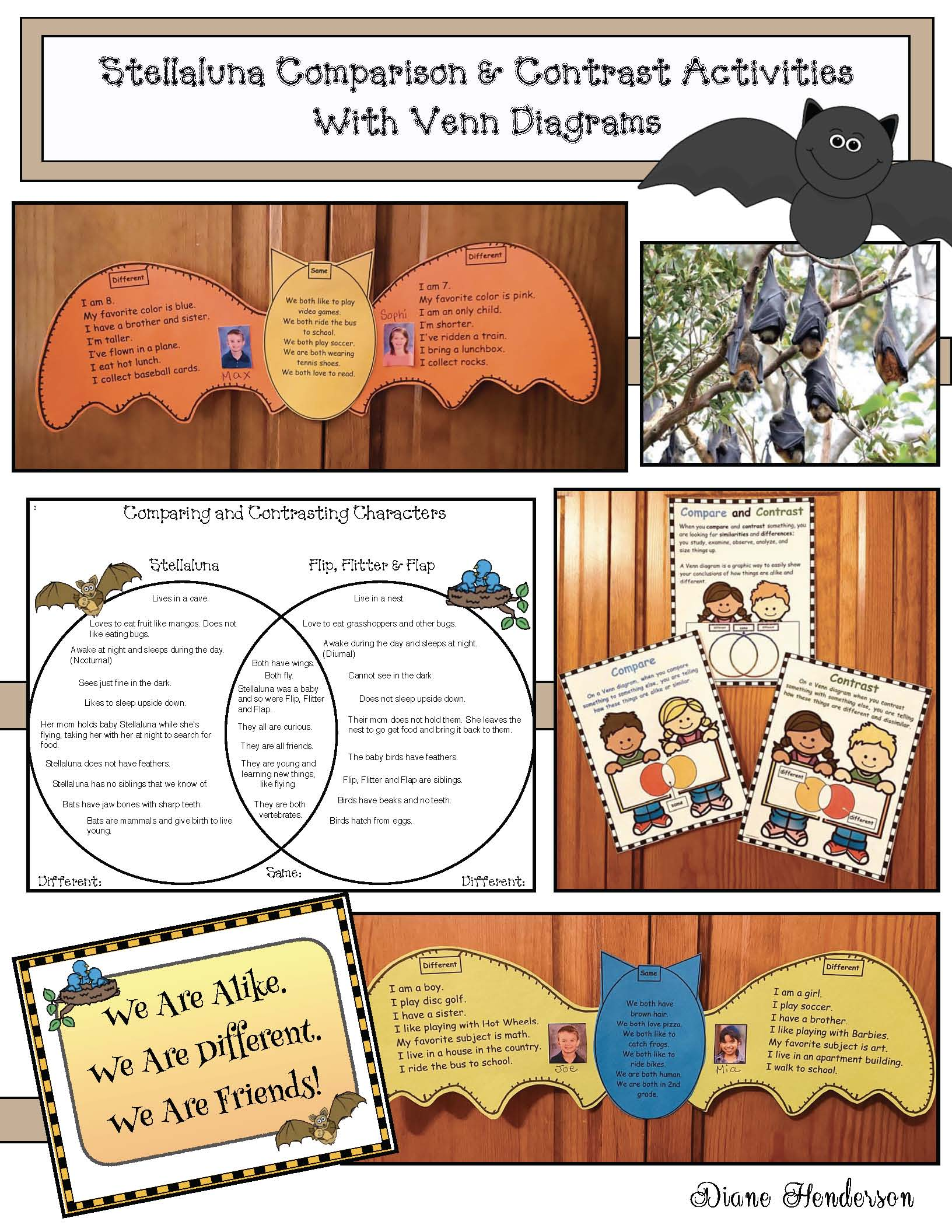 Stellaluna activities, bat craft, venn diagram, comparison & contrast writing, comparison & contrast posters, comparing Stellaluna with The Ugly Duckling