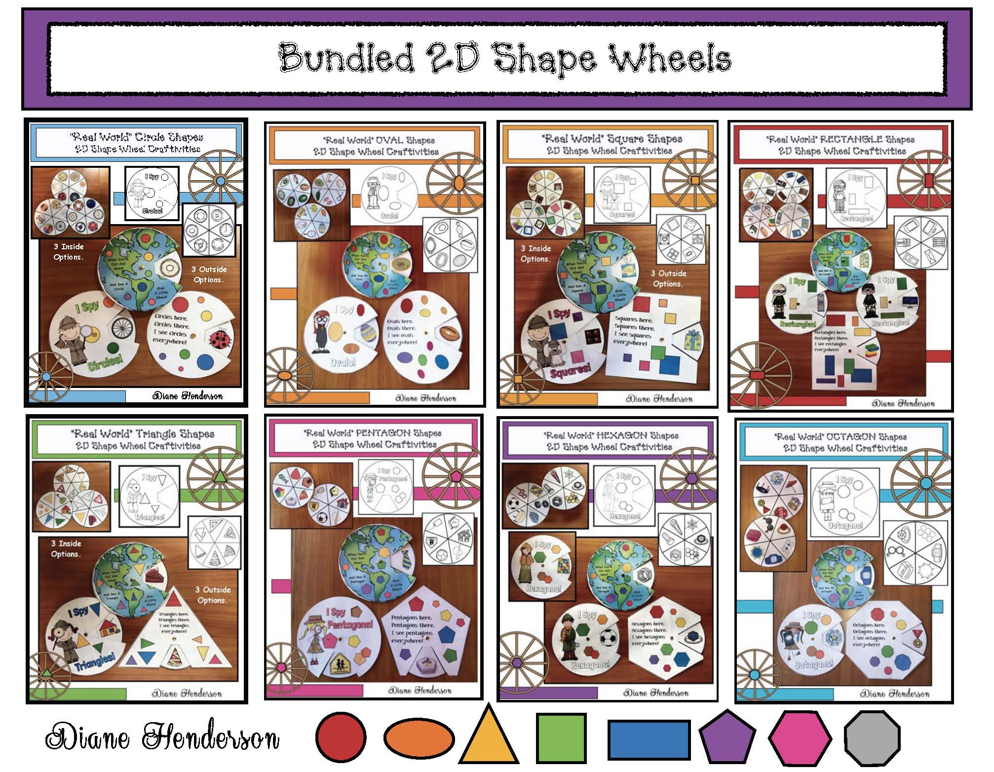 2D shape activities, 2D shape crafts, 2D shape games, 2D shape assessments, 2D shape centers, 2D shape wheels, 2D shapes in the real world, examples of 2D shapes