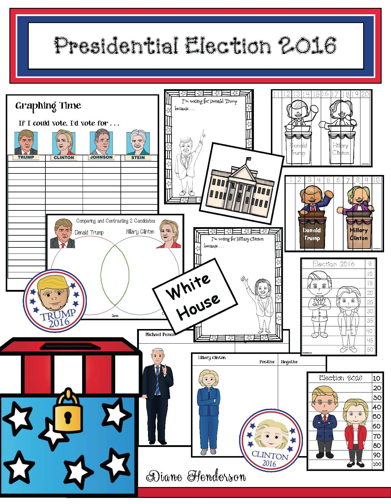 2016 election activities, election activities for elementary, election graph, election centers, election crafts, skip counting activities, counting backwards activities, election writing prompts