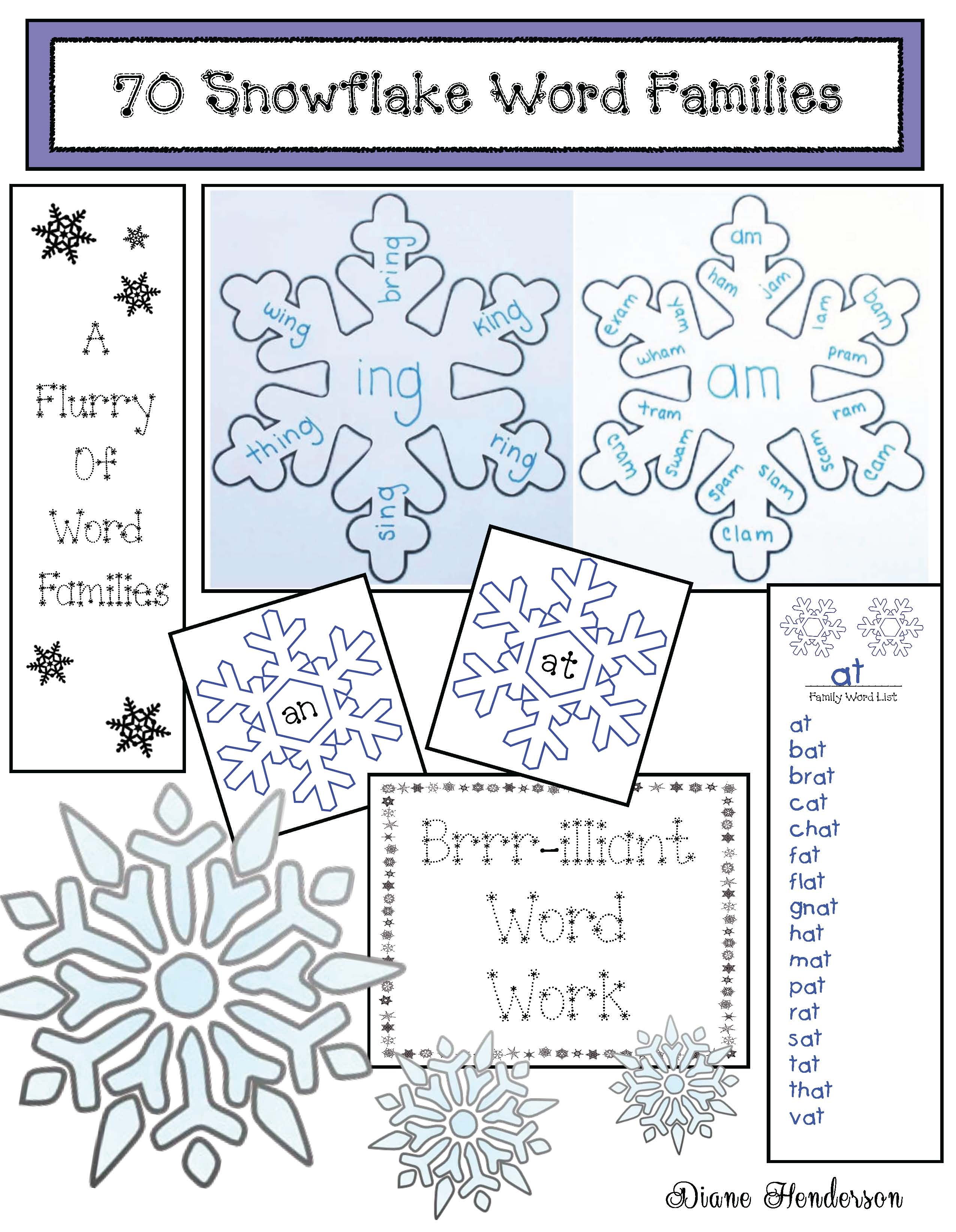 snowflake crafts, snowflake games, snowflake centers, snowflake activities, January word work, word family activities, January bulletin board ideas, writing prompt for January, 2D shape activities