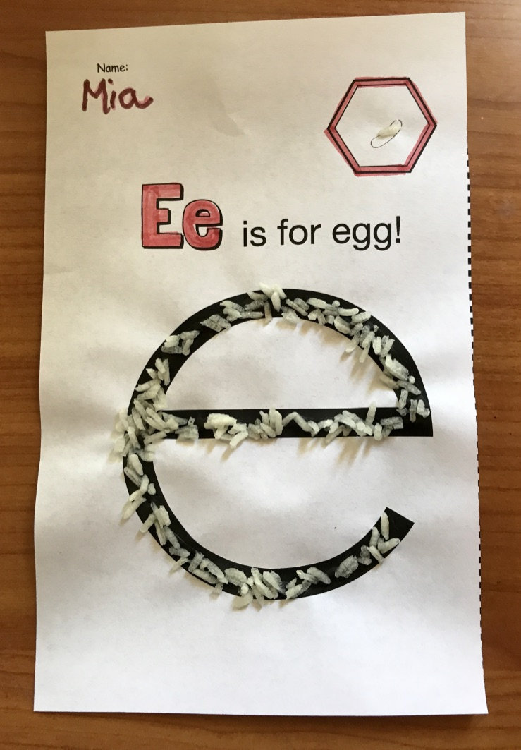 "Besides using honeycomb cereal as a manipulative, I have students sprinkle rice on their (glue-traced) ""Ee is for egg"" worksheet, to help them understand the size and appearance of a honey bee's egg."