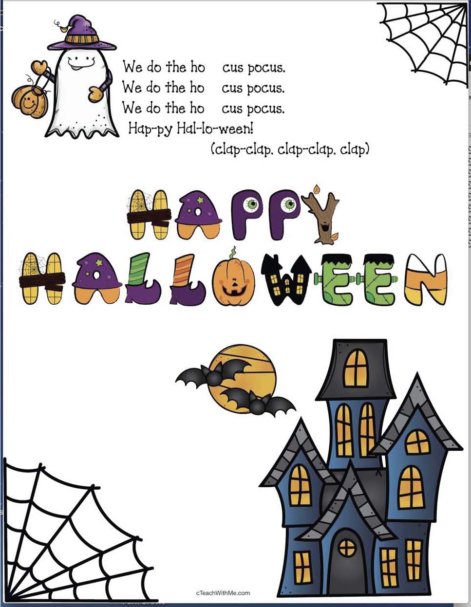 Hocus Pocus Hokey Pokey, Hokey Pokey Halloween version, Halloween party day activities, Halloween party day songs