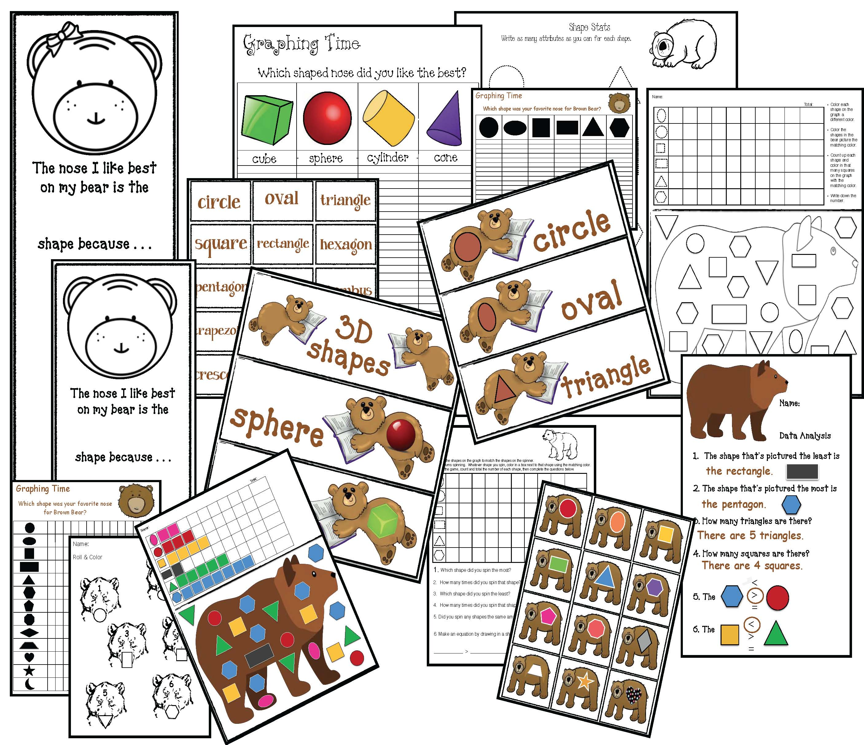 2D shape activities, 2D shape crafts, 3D shape activities, 3D shape crafts, shape games, brown bear activities, brown bear crafts, back to school activities