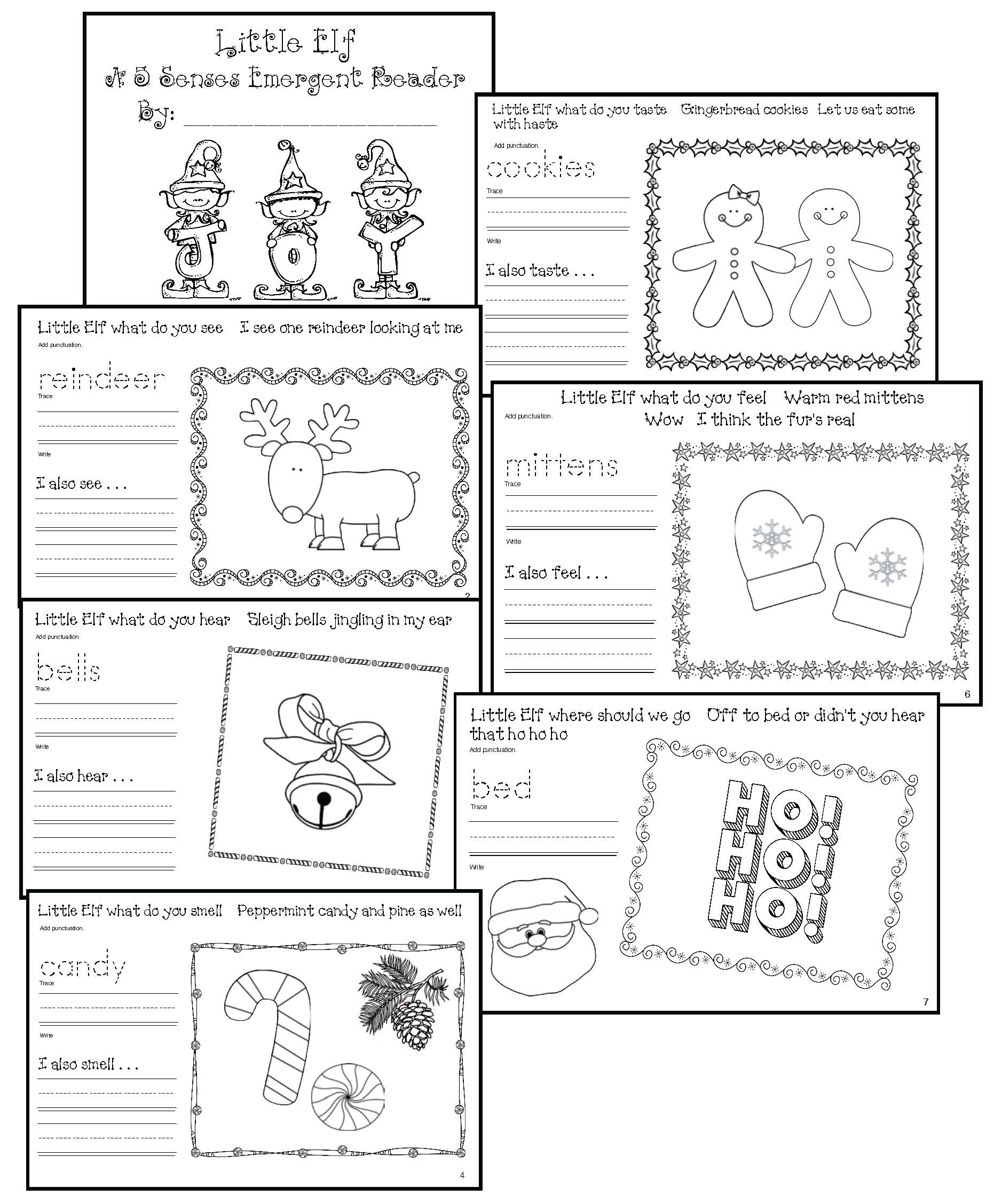 elf activities, elf on a shelf activities, label the elf, elf emergent reader, graphing activities, end punctuation activities