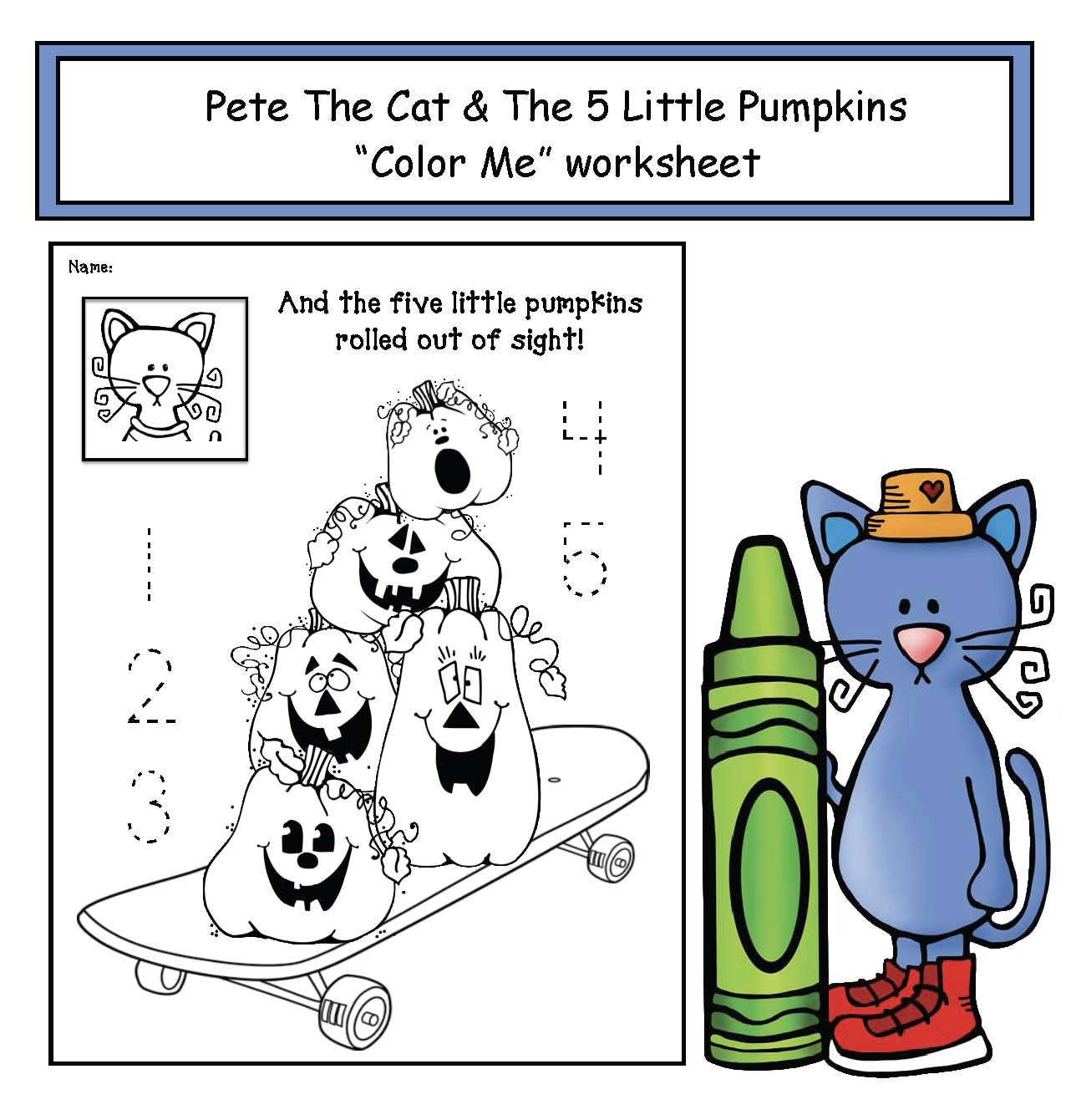 Pete the cat and the 5 little pumpkins free coloring pages