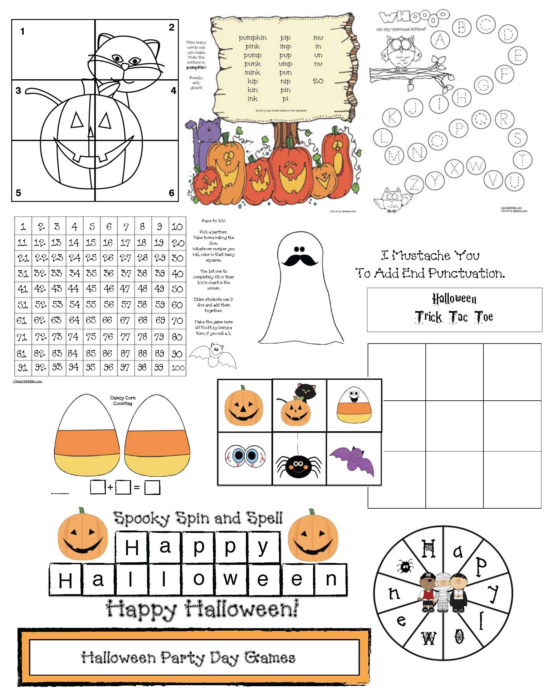 Pages from Ready Set Ghost Halloween games LK