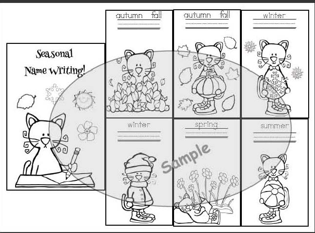 Pete the cat activities, cat activities, name writing activities, keepsake name writing booklets, coloring pages for school, coloring pages for pete the cat
