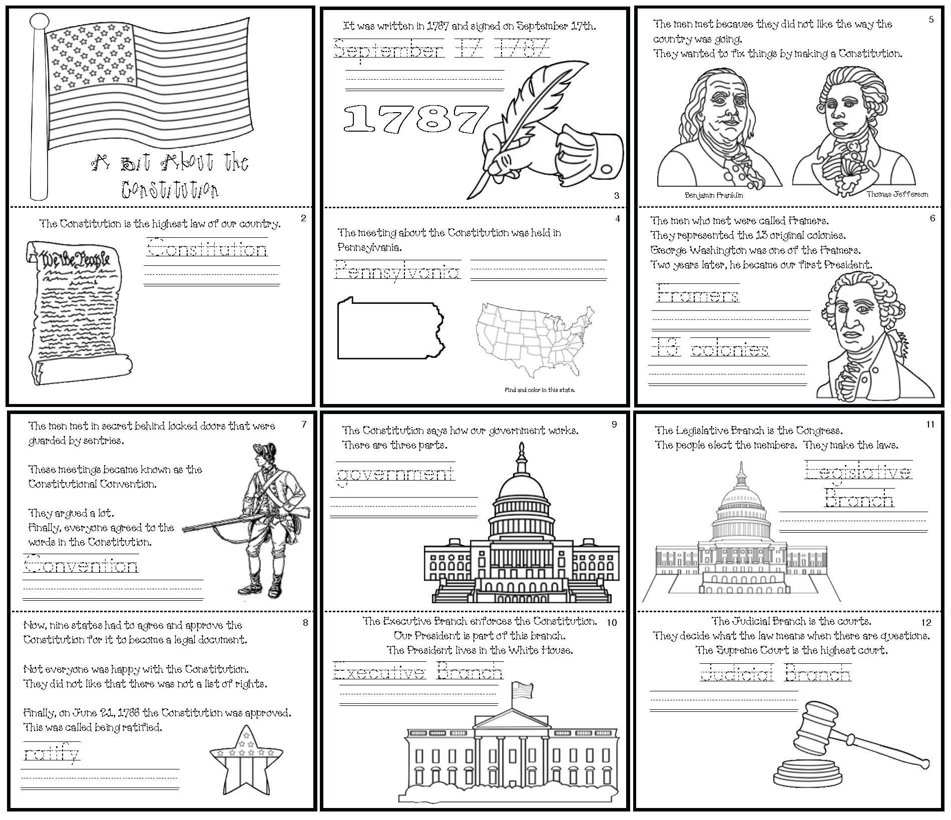 constitution day activities, constitution day centers, constitution day crafts, constitution day emergent reader