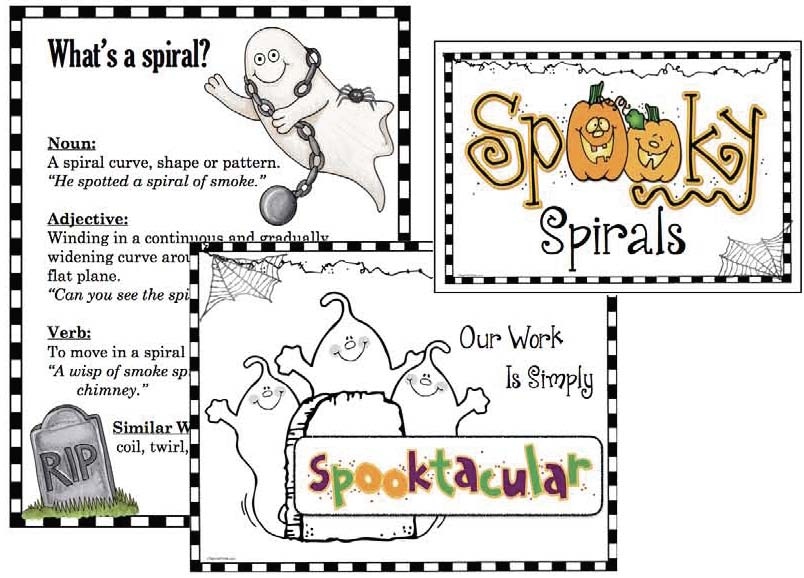 Spooky  POSTERS, spooky ghost craft writing prompt spirlal, ghost craft, Halloween activities, Halloween crafts, Halloween decorations, October writing prompts, ghost activities, spiral activities, Spooky Spirals, Halloween posters, Cutting practice